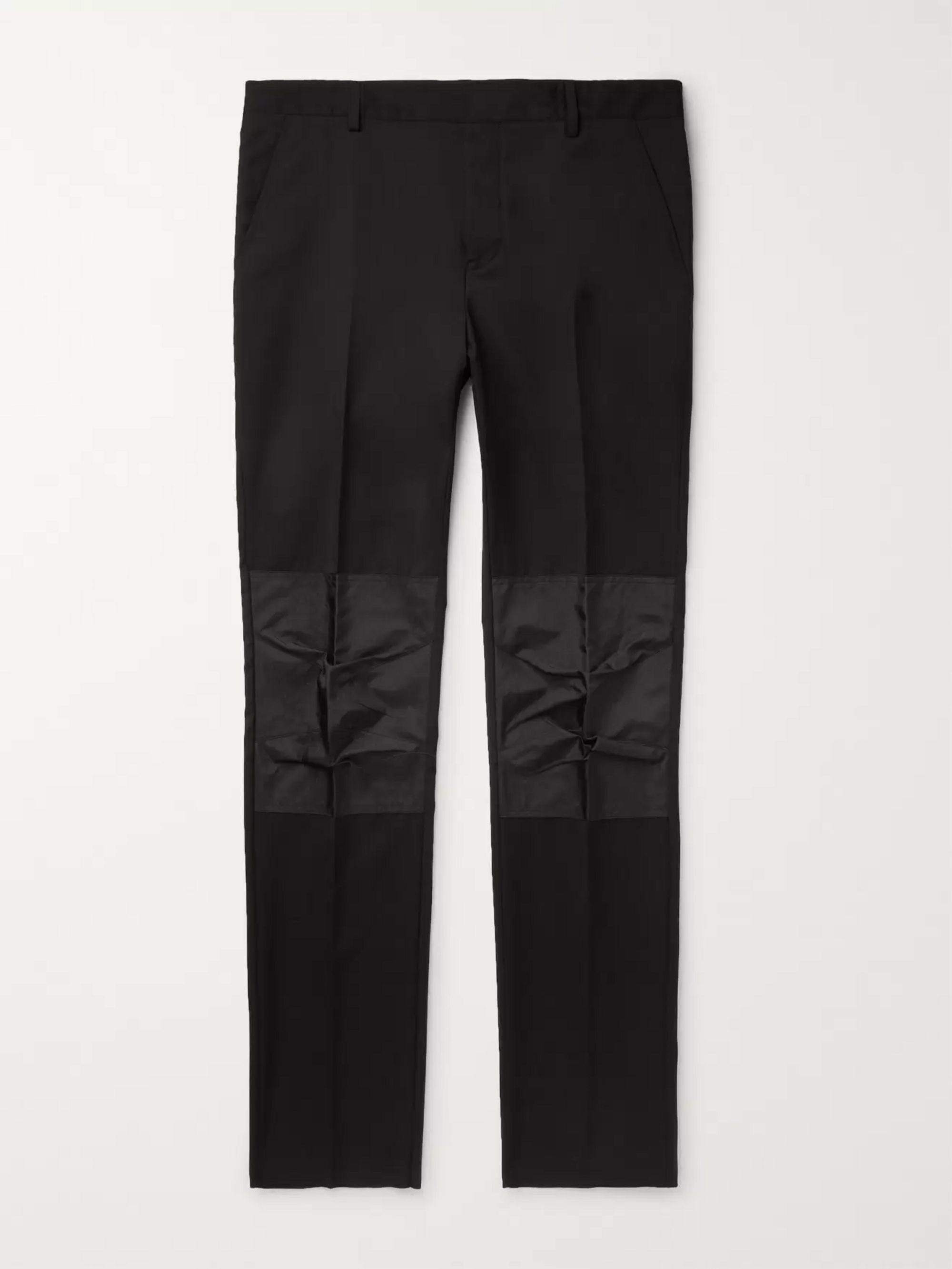 Lanvin Black Slim-Fit Shell-Panelled Wool Trousers