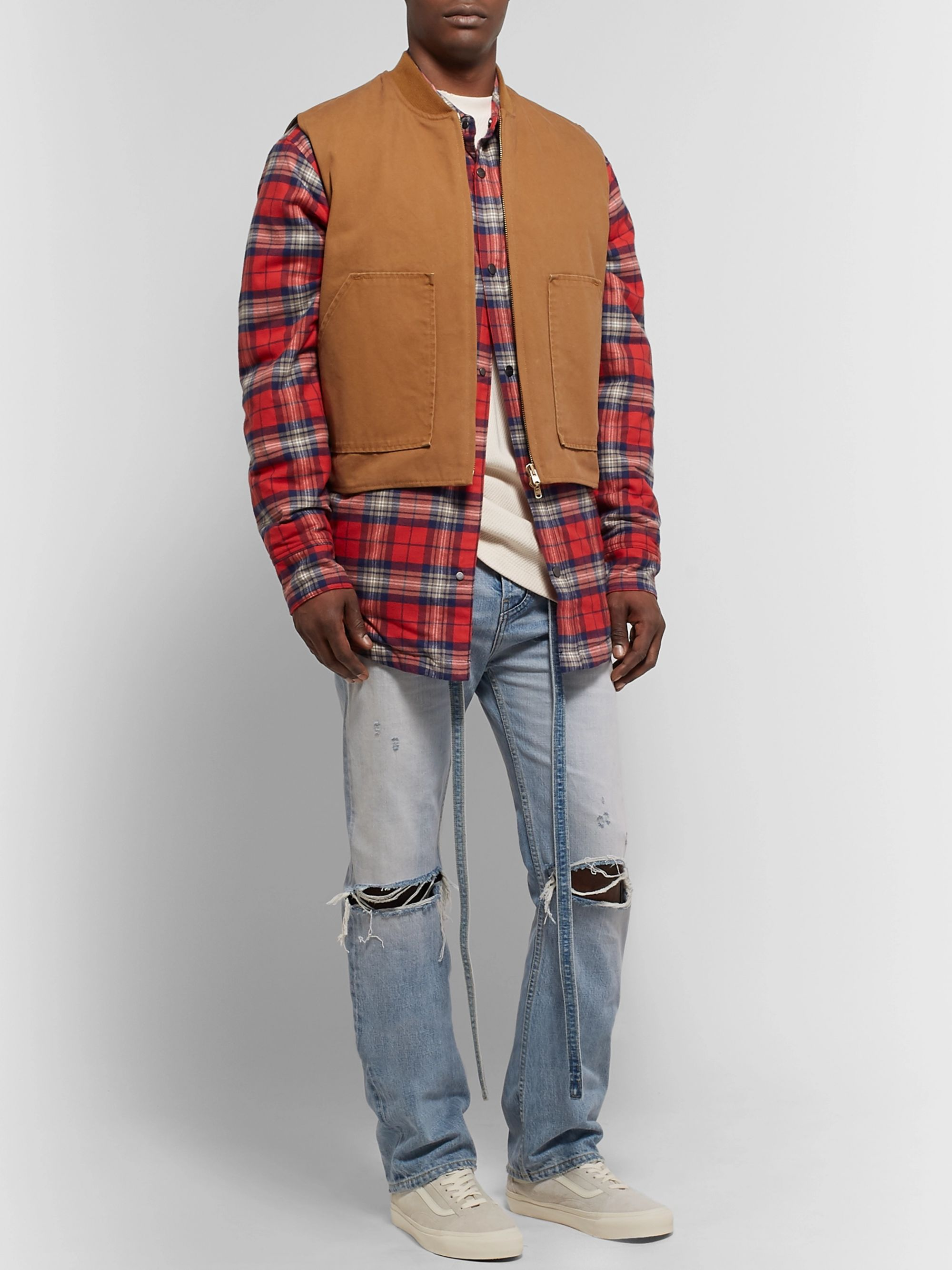 Fear of God Relaxed-Fit Belted Distressed Selvedge Denim Jeans