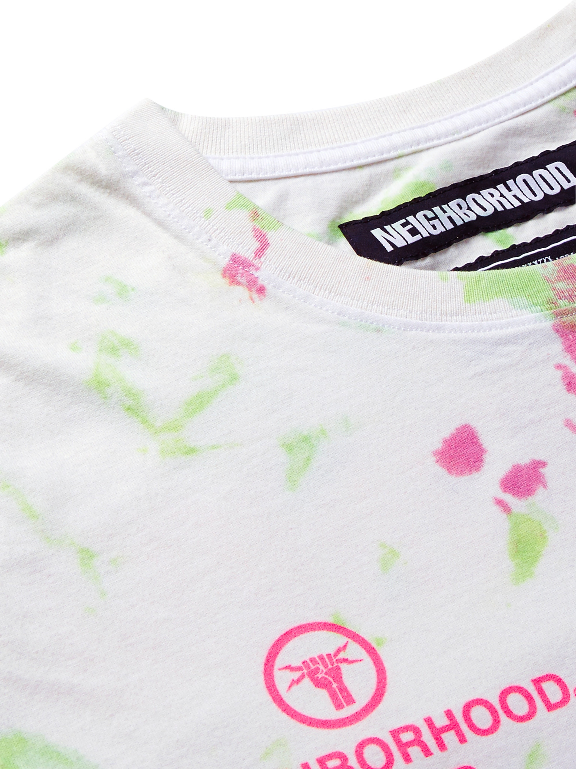 Neighborhood Logo-Printed Tie-Dyed Cotton-Blend Jersey T-Shirt
