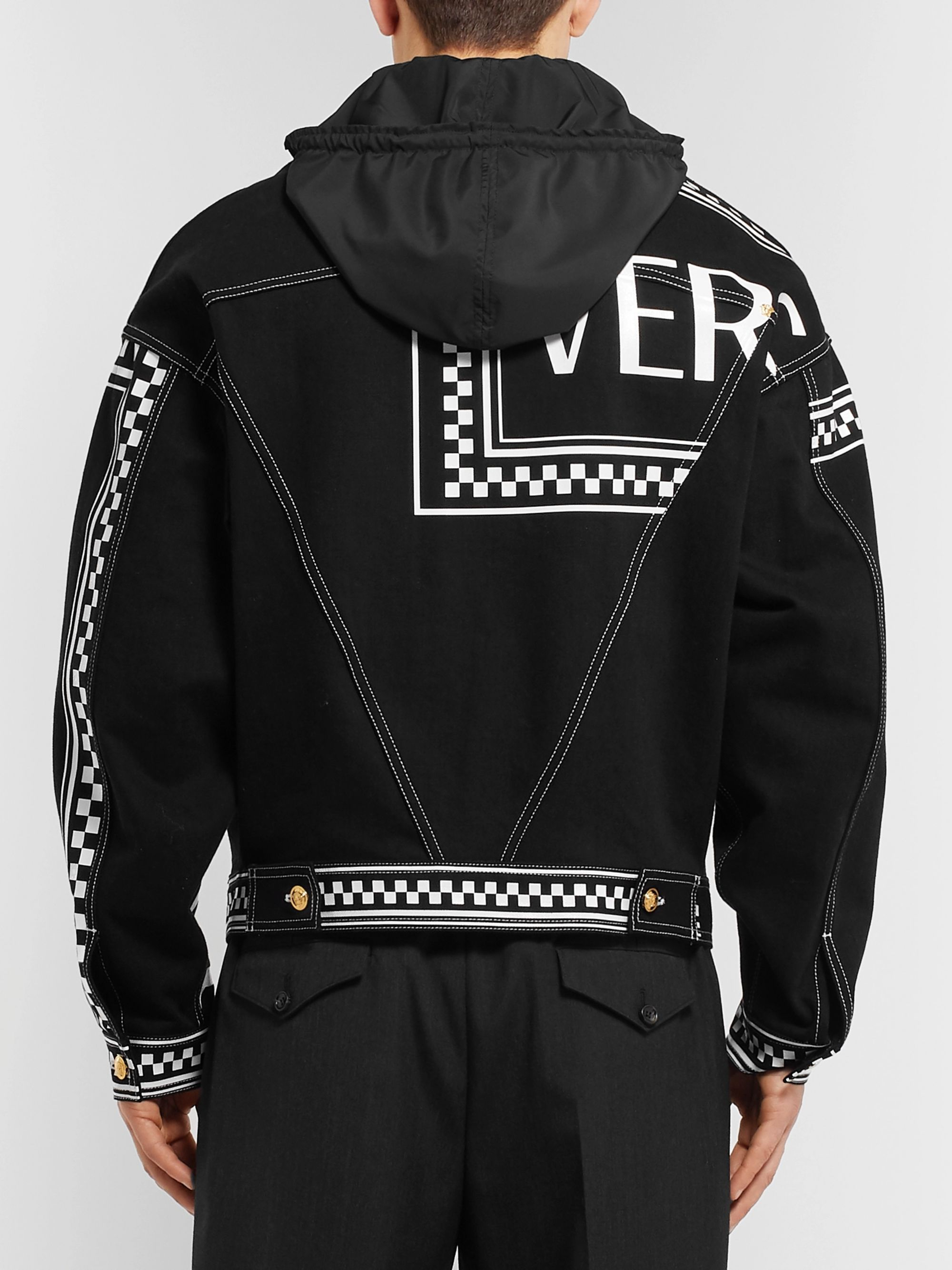 Versace Logo-Print Hooded Denim Jacket