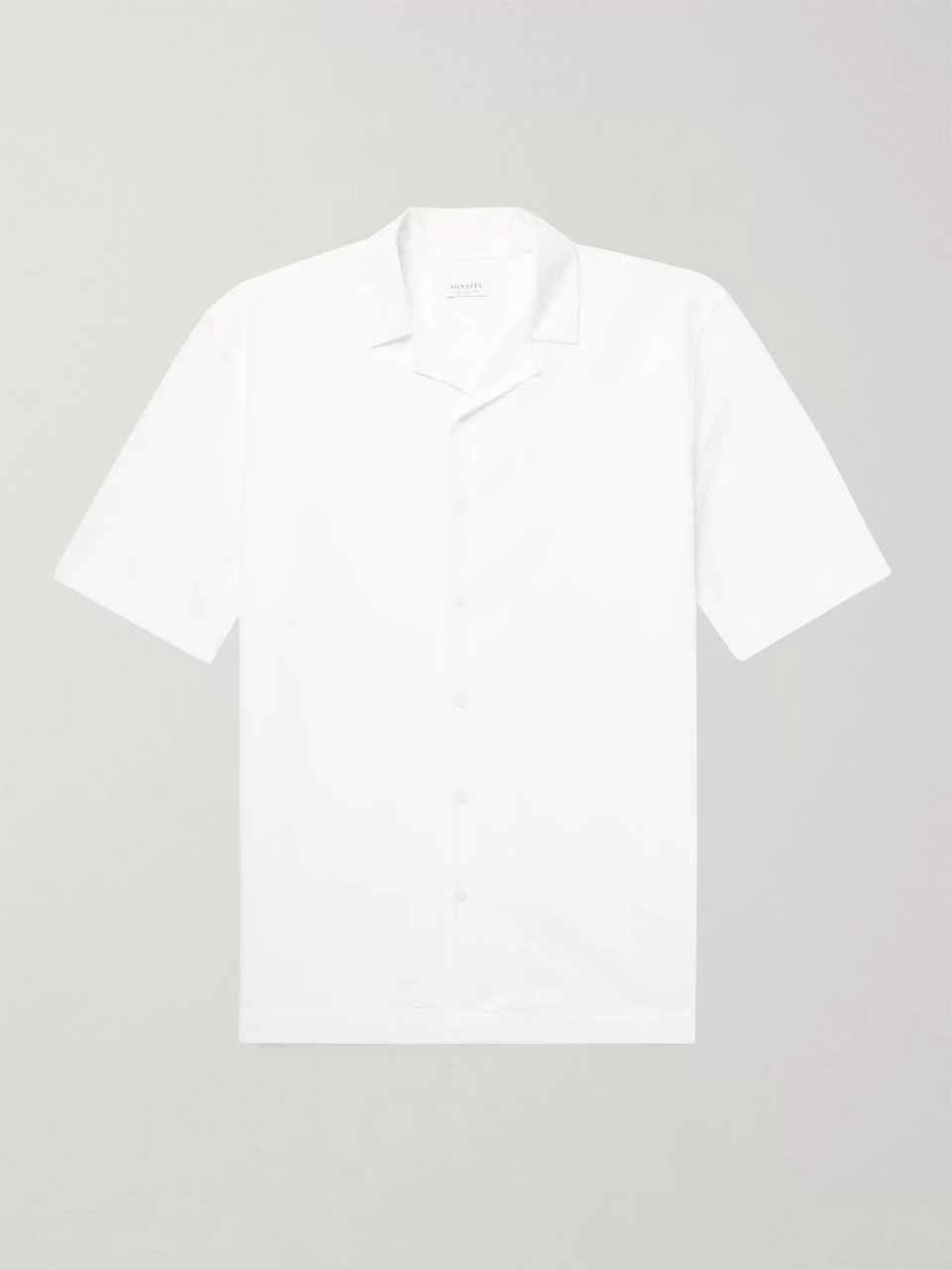 Sunspel Camp-Collar Textured-Cotton Shirt
