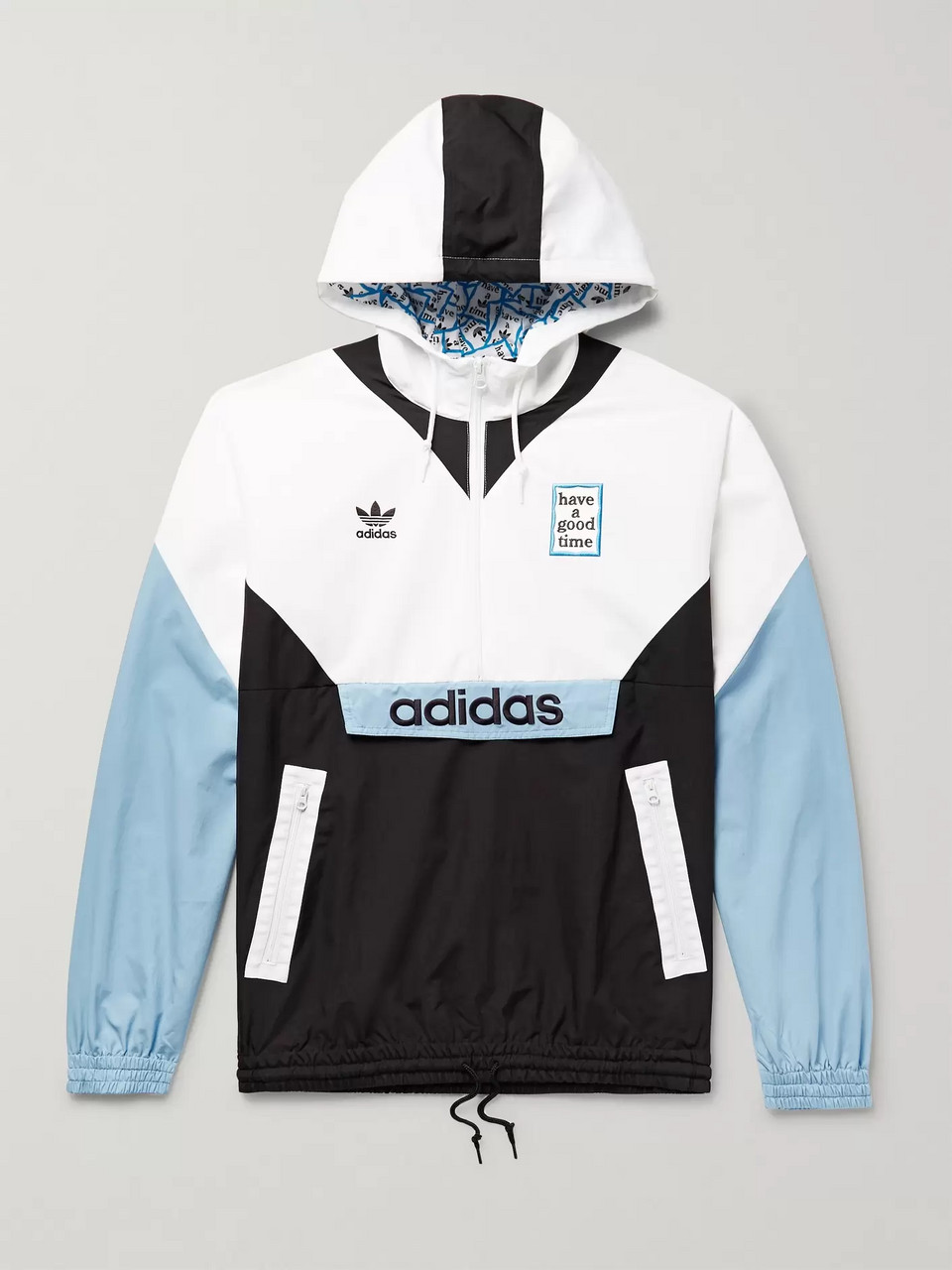 adidas Consortium + Have a Good Time Logo-Embroidered Colour-Block Nylon Hooded Jacket