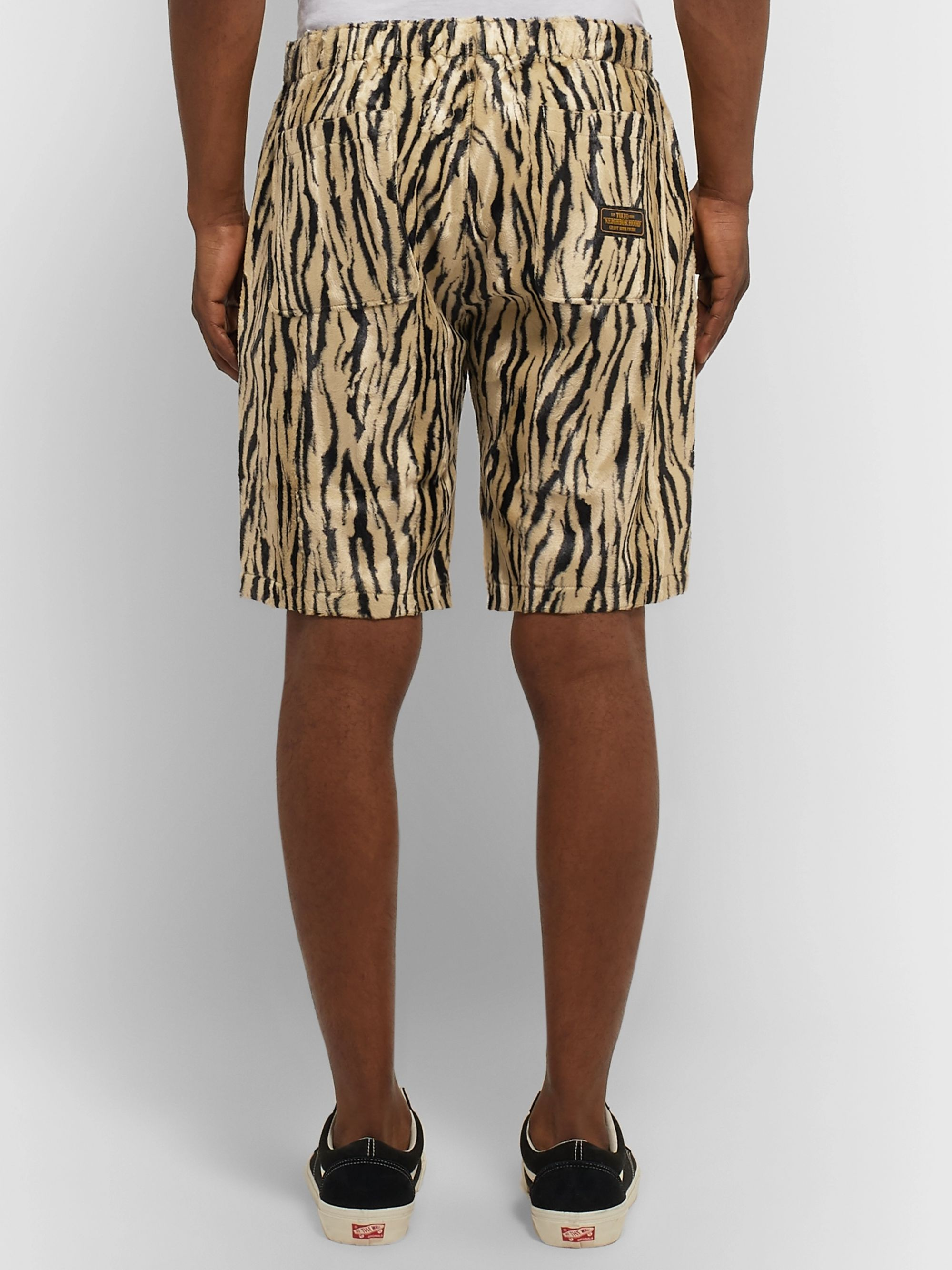 Neighborhood Zebra-Print Faux Fur Shorts