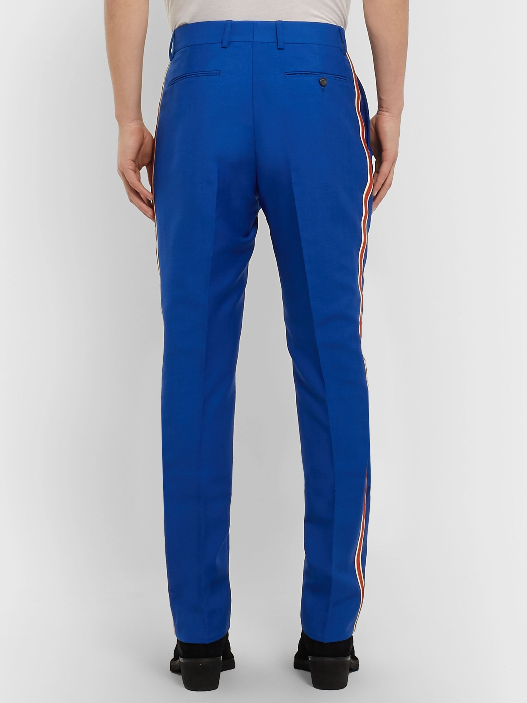 CALVIN KLEIN 205W39NYC Slim-Fit Striped Mohair and Wool-Blend Trousers
