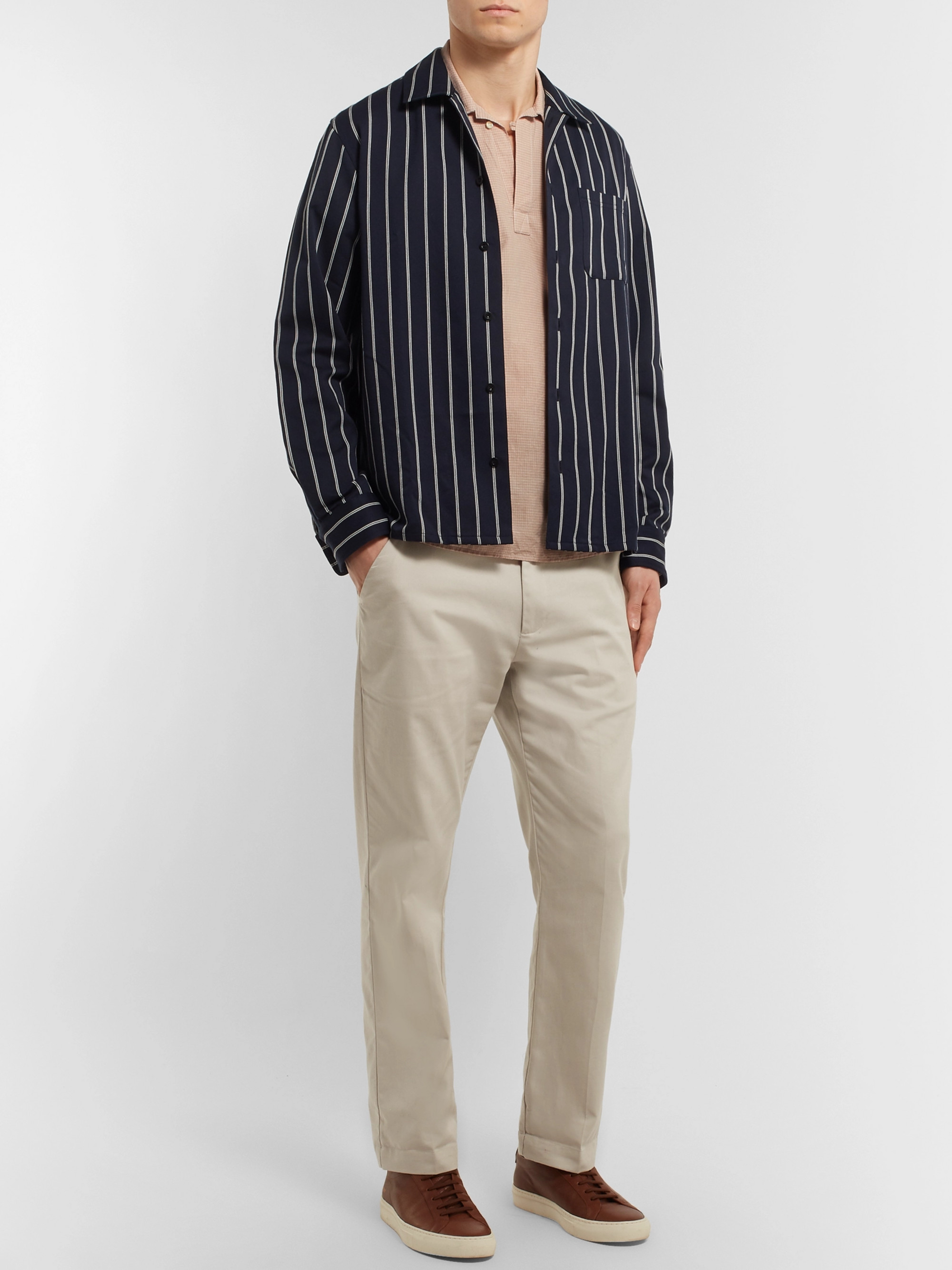 Oliver Spencer Yarmouth Checked Cotton and Linen-Blend Half-Placket Shirt