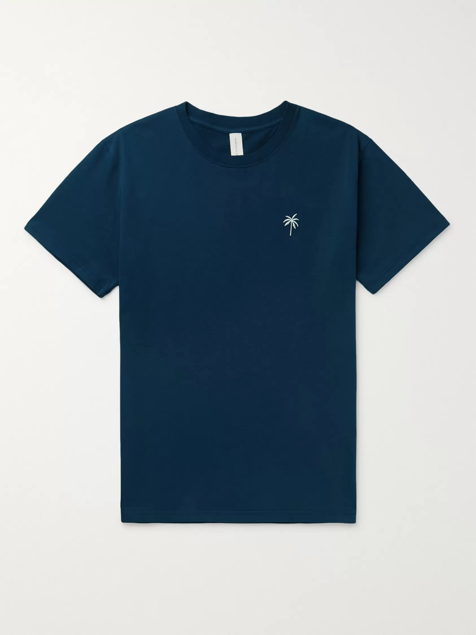 Desmond & Dempsey Embroidered Cotton-Jersey Pyjama T-Shirt