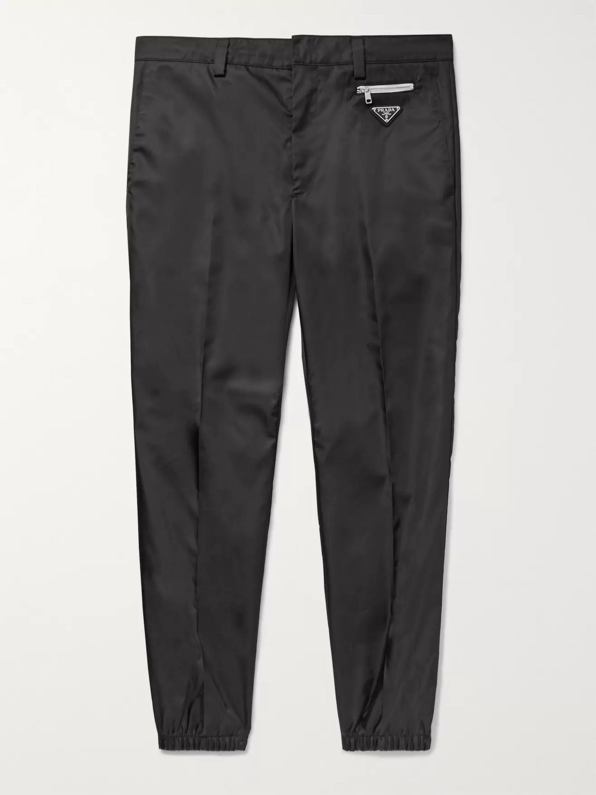 Prada Black Slim-Fit Tapered Logo-Appliquéd Nylon Trousers