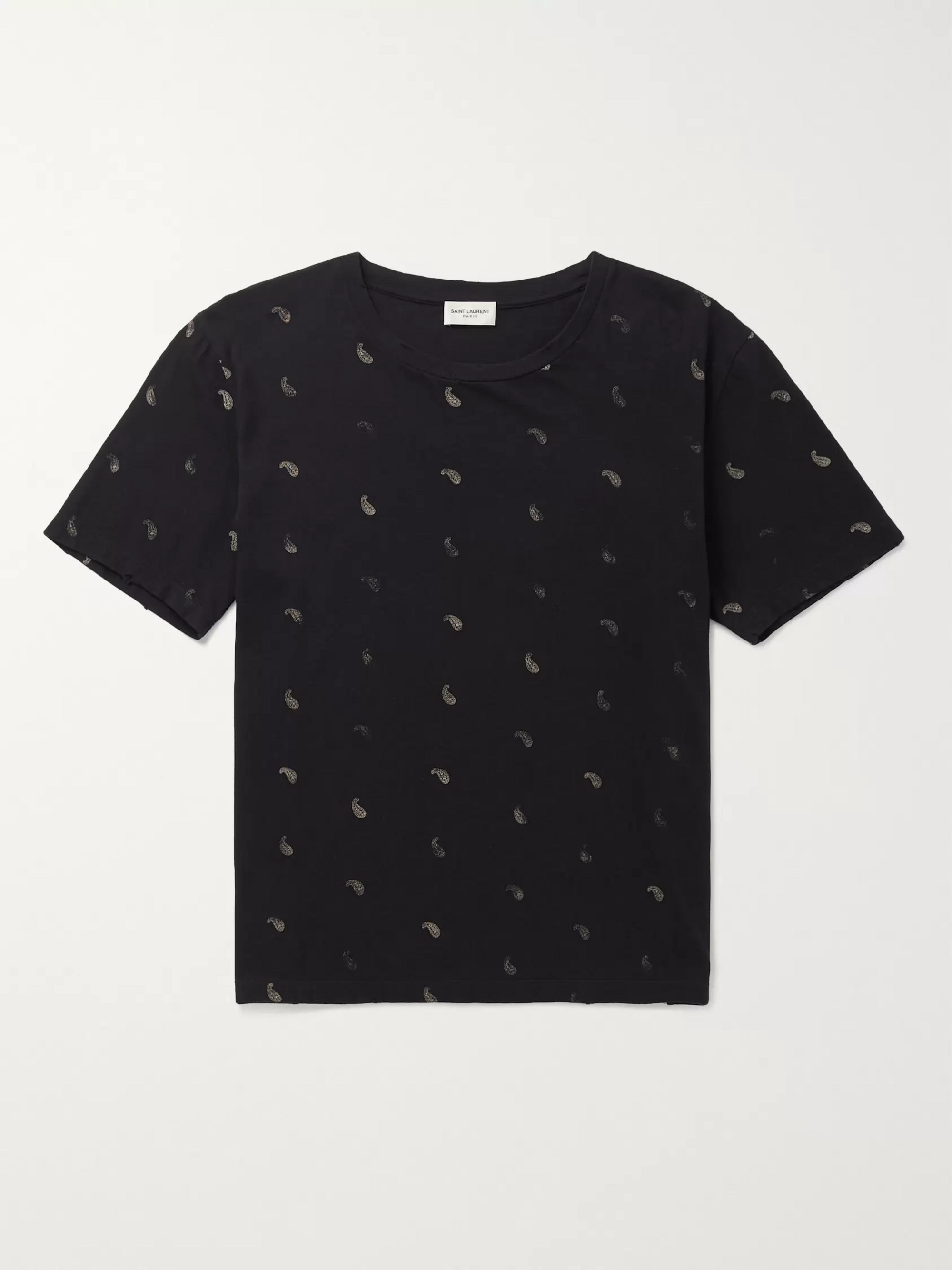 SAINT LAURENT Printed Distressed Cotton-Jersey T-Shirt