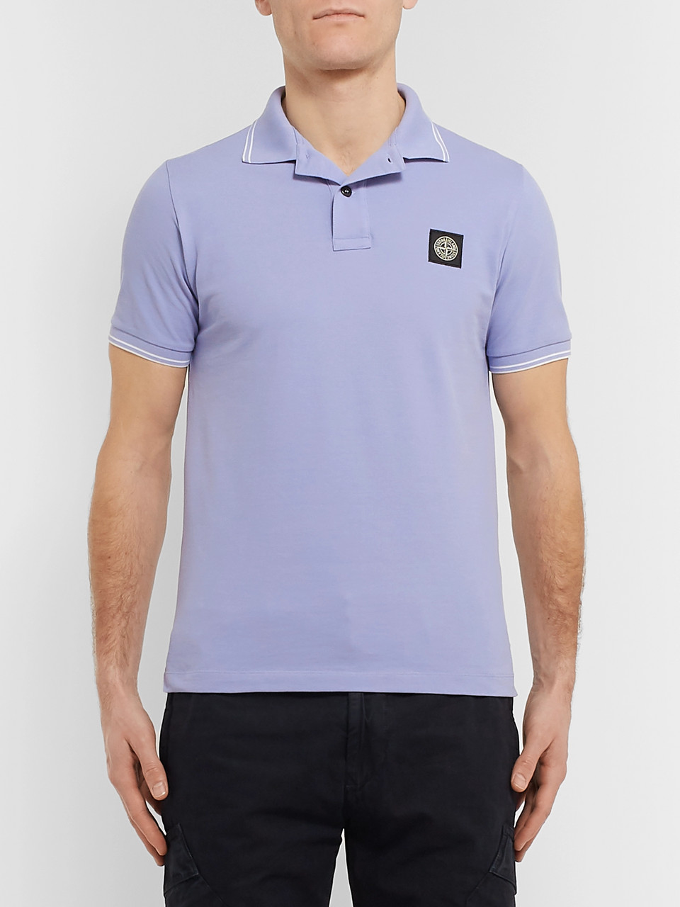 b9f41eb8 Stone Island Slim-Fit Contrast-Tipped Stretch-Cotton Piqué Polo Shirt