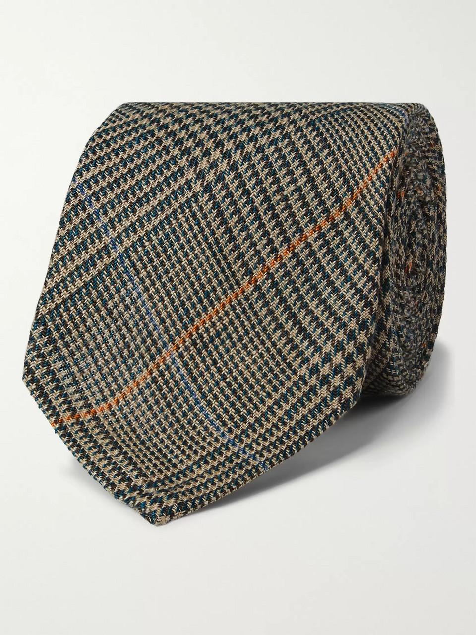 De Bonne Facture 7cm Prince of Wales Checked Linen Tie