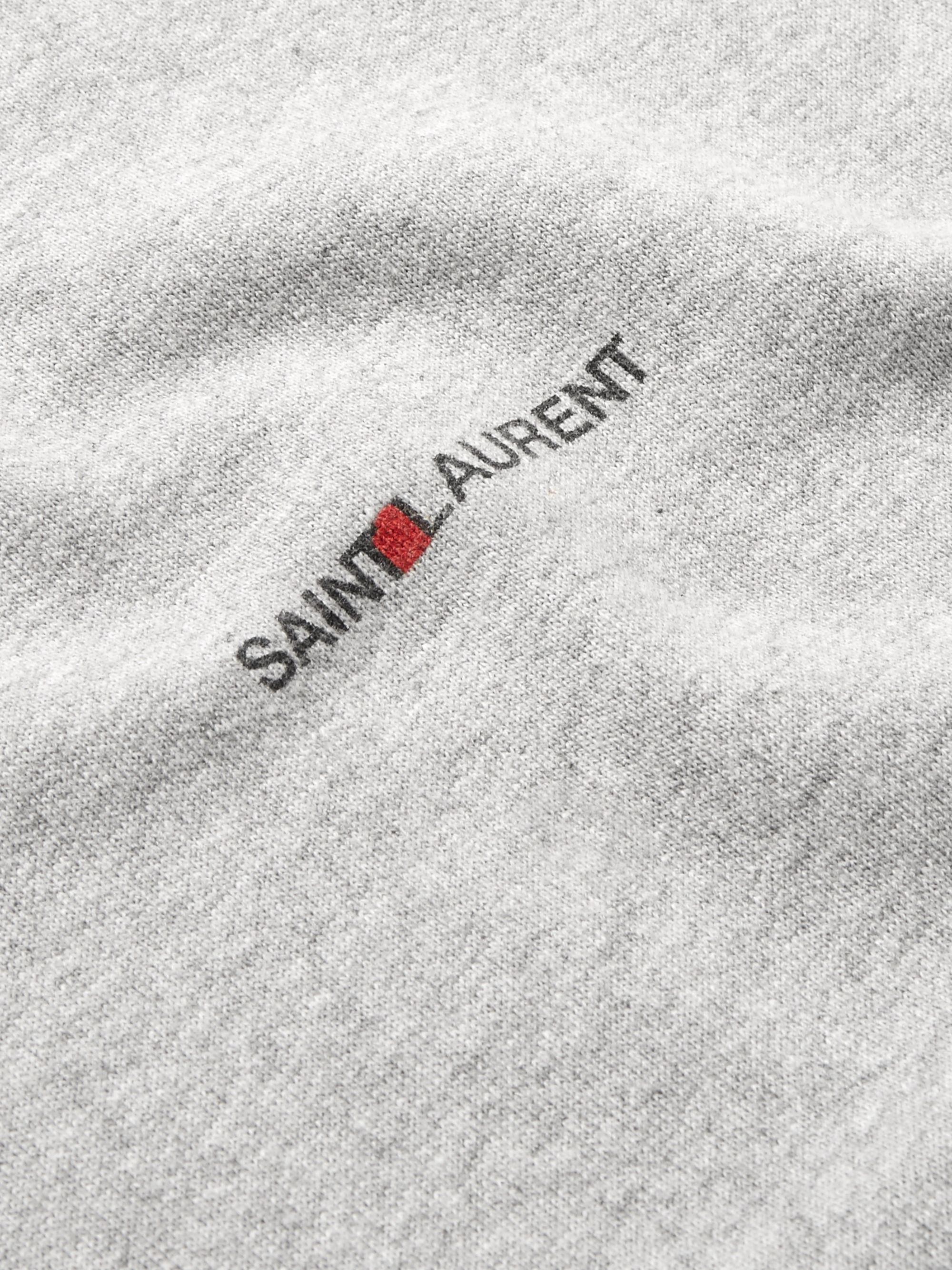 SAINT LAURENT Logo-Print Mélange Cotton-Blend Jersey Hoodie