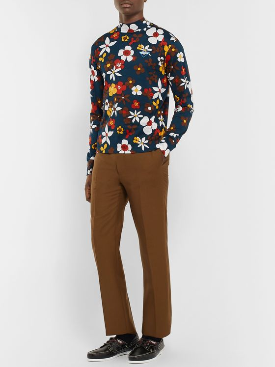 Prada Slim-Fit Floral-Print Cotton-Jersey Mock-Neck T-Shirt