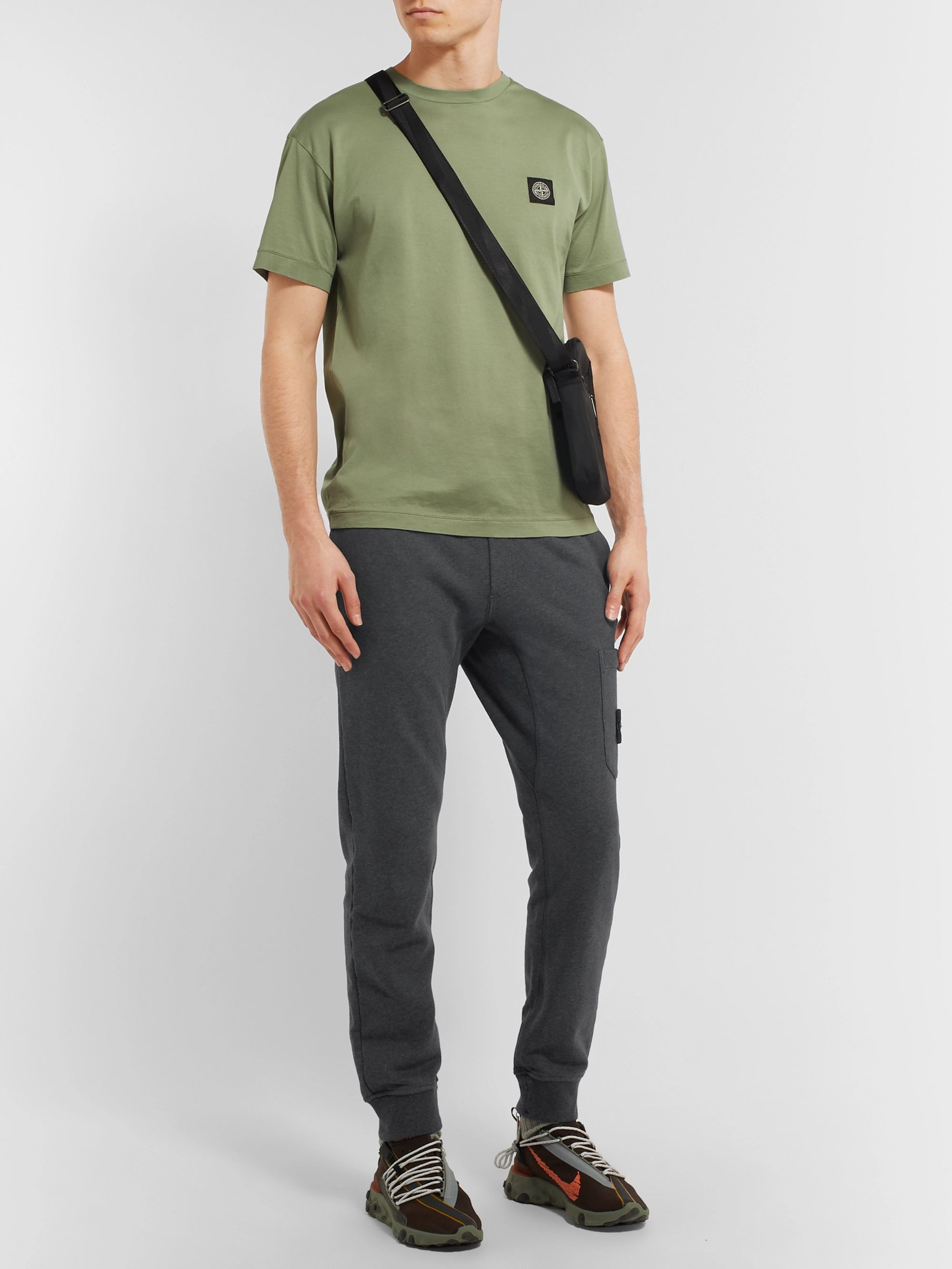 Stone Island Logo-Appliquéd Tapered Mélange Loopback Cotton-Jersey Sweatpants