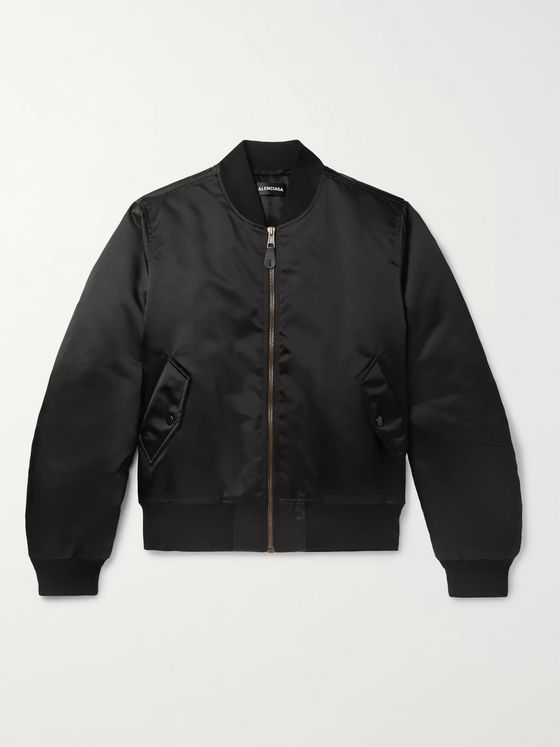 Balenciaga Oversized Embroidered Satin Bomber Jacket
