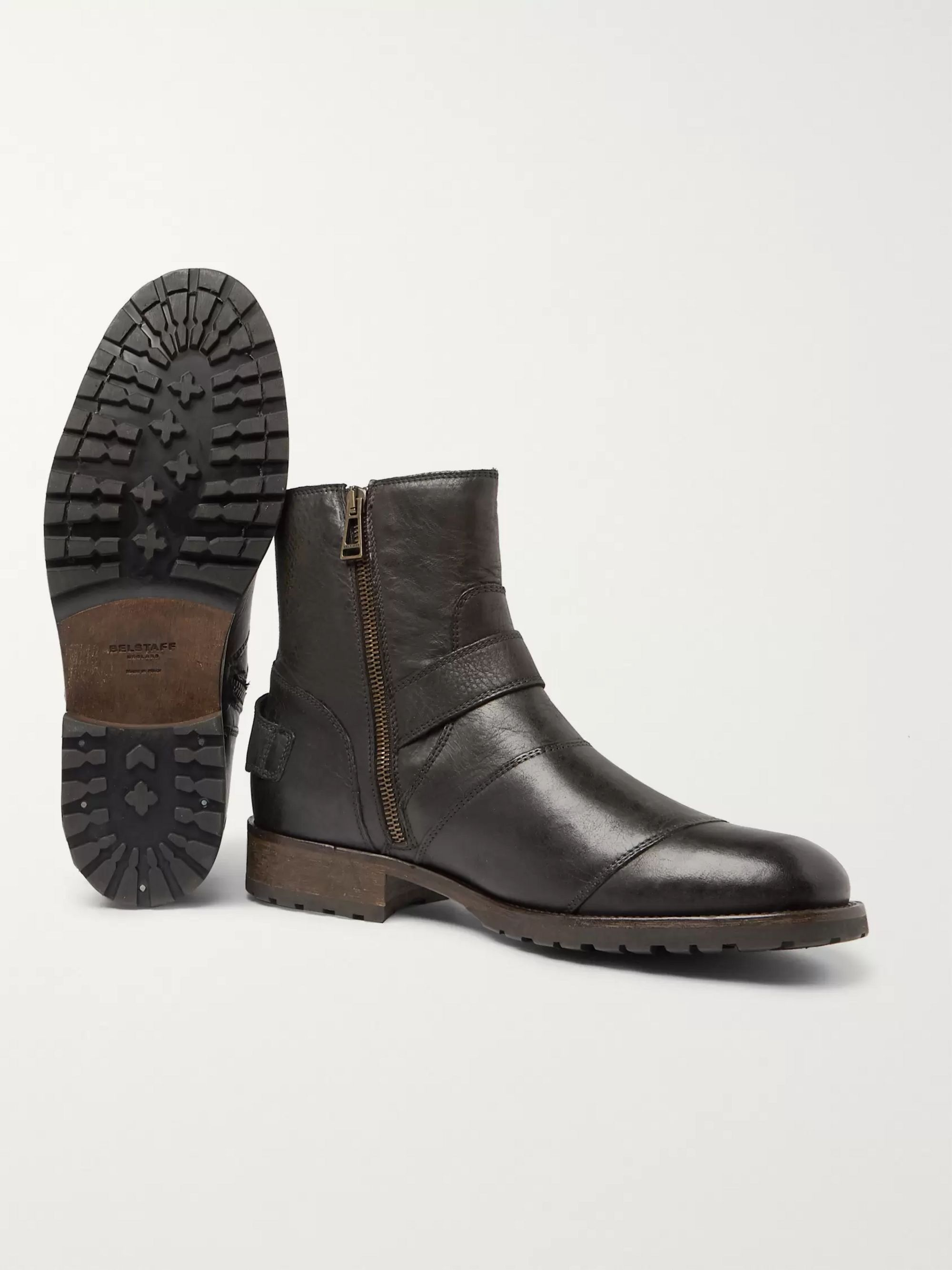 Belstaff Trialmaster Distressed Leather Boots