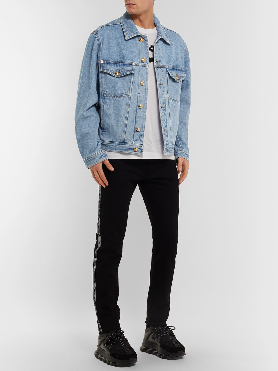 Versace Logo-Embroidered Denim Jacket