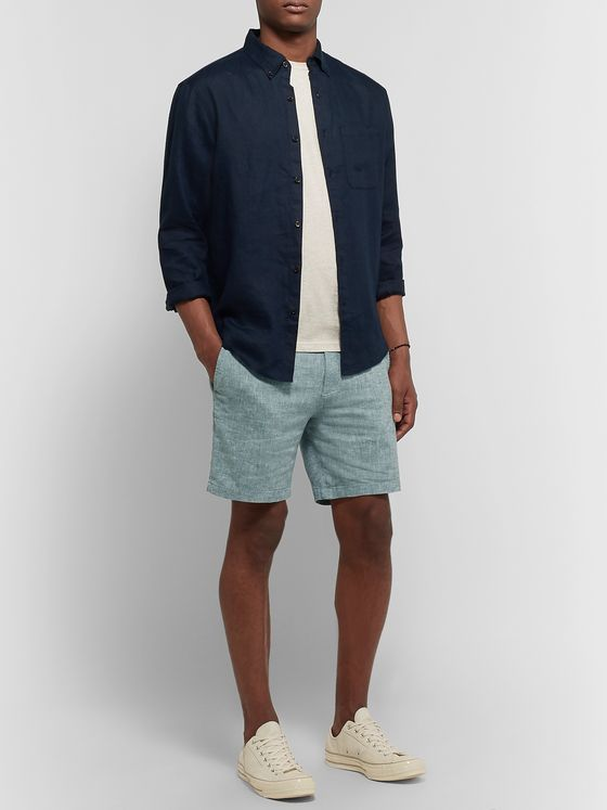 Club Monaco Baxter Slim-Fit Stretch Linen and Cotton-Blend Chambray Shorts