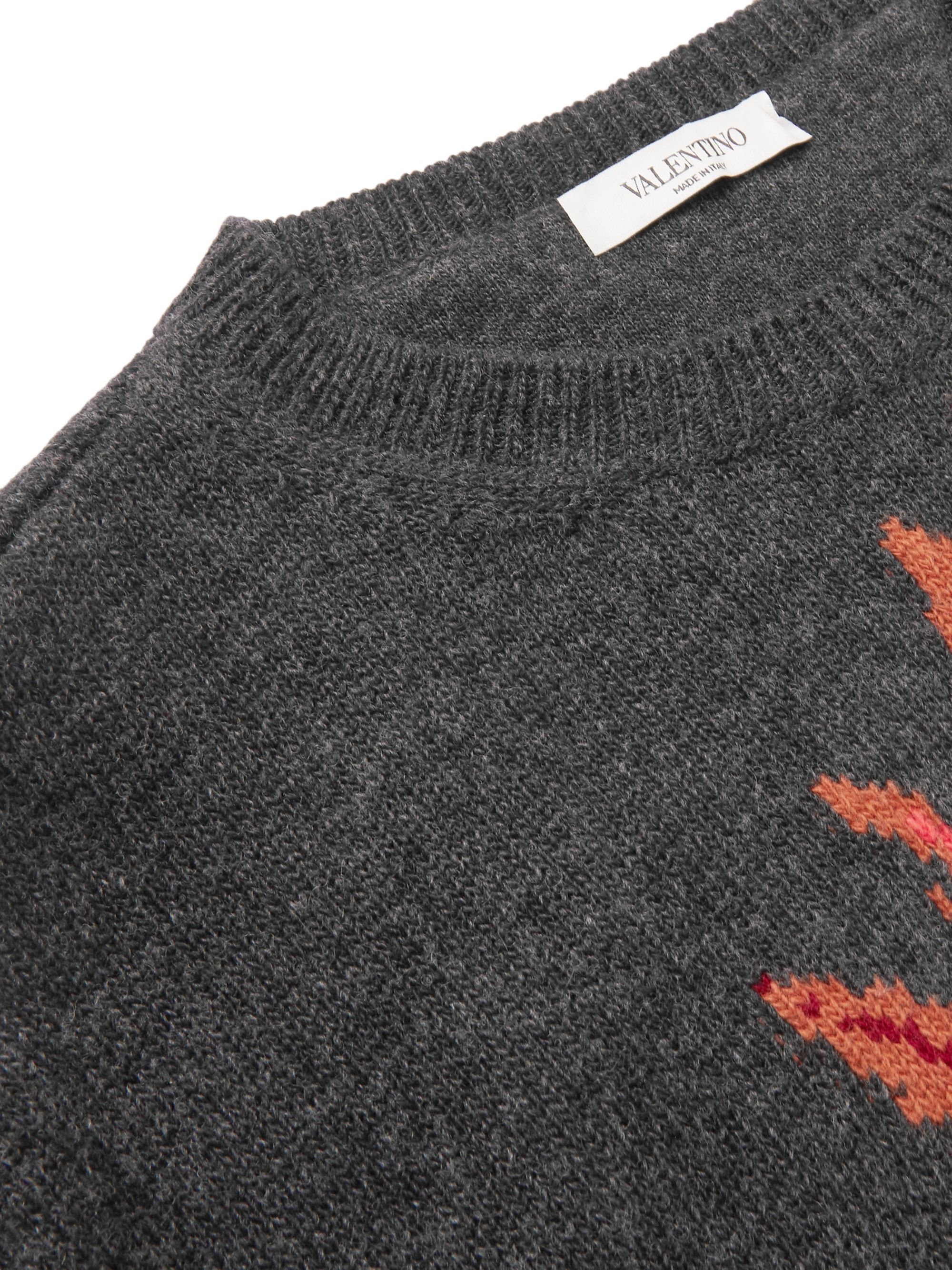 VALENTINO UOMO Parrot-Intarsia Virgin Wool and Cashmere-Blend Sweater