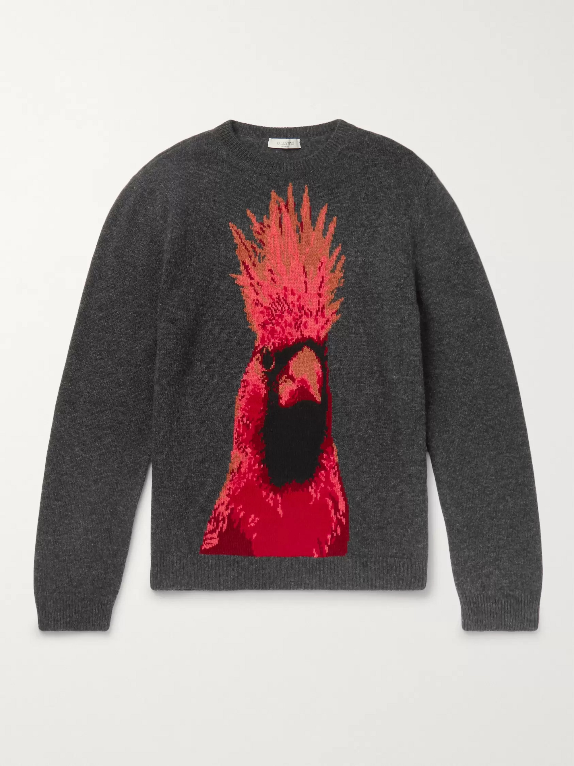 Valentino Parrot-Intarsia Virgin Wool and Cashmere-Blend Sweater