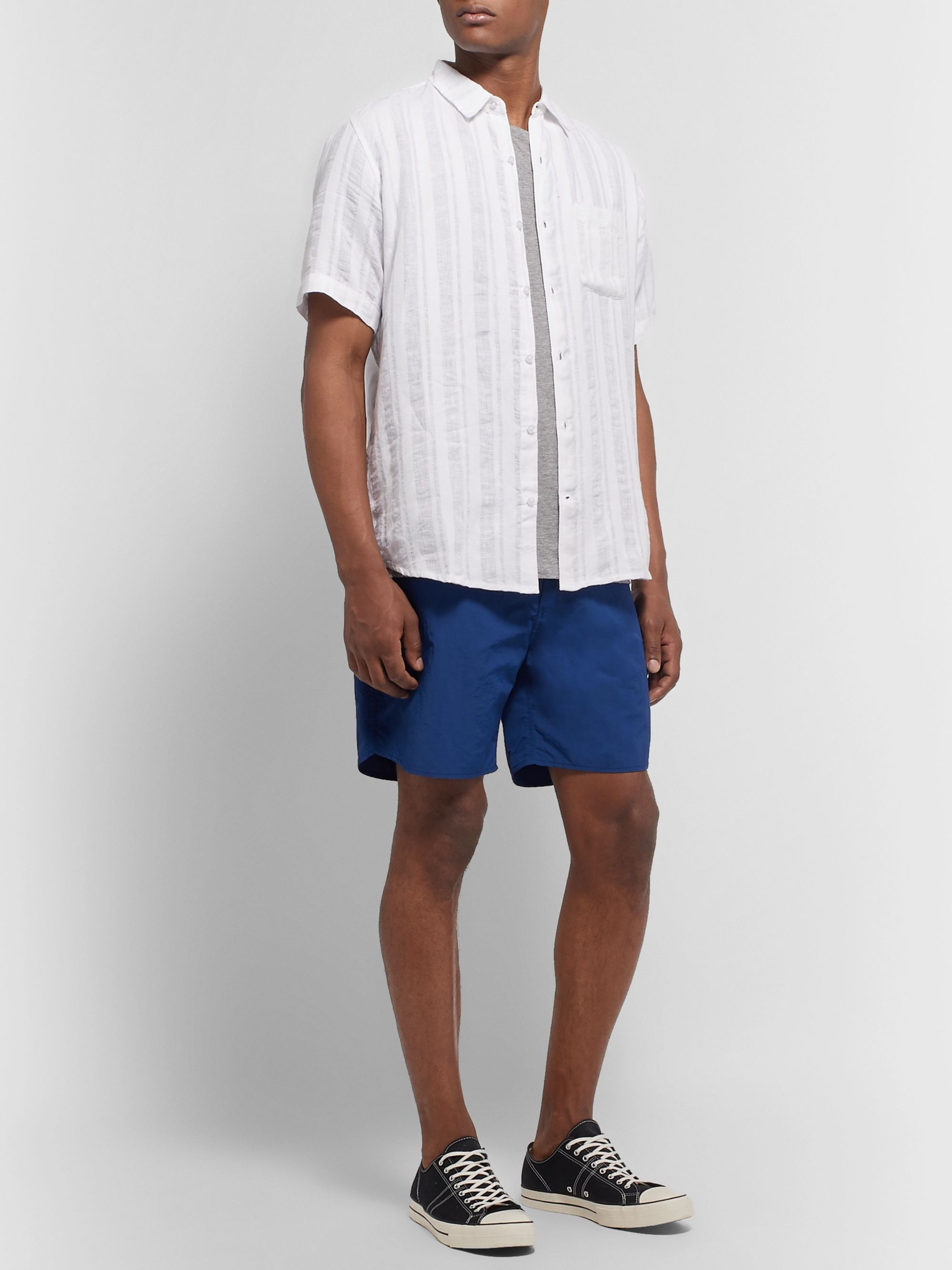 Thorsun Striped Linen-Jacquard Shirt