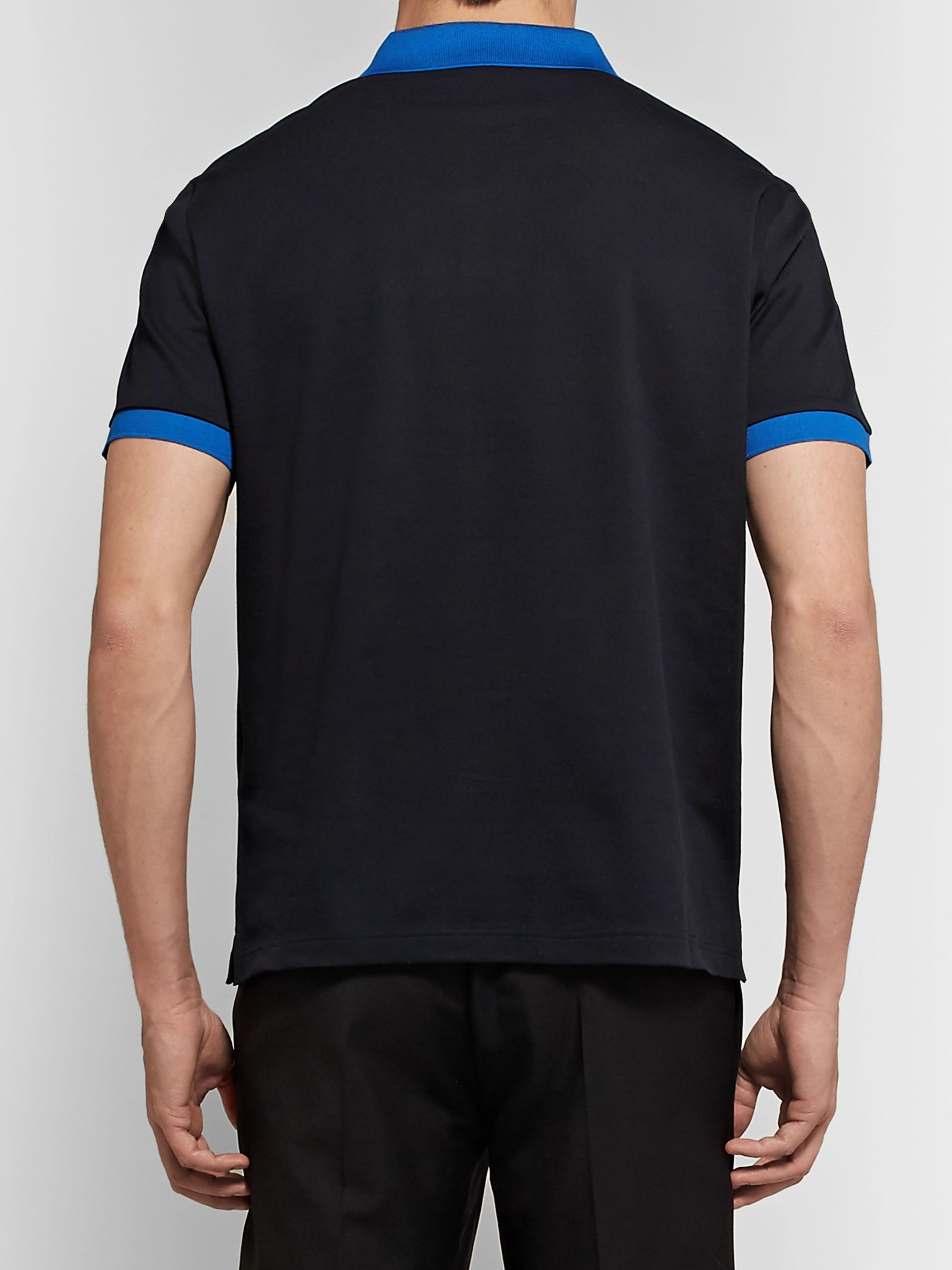 Prada Logo-Appliquéd Contrast-Tipped Cotton-Piqué Polo Shirt