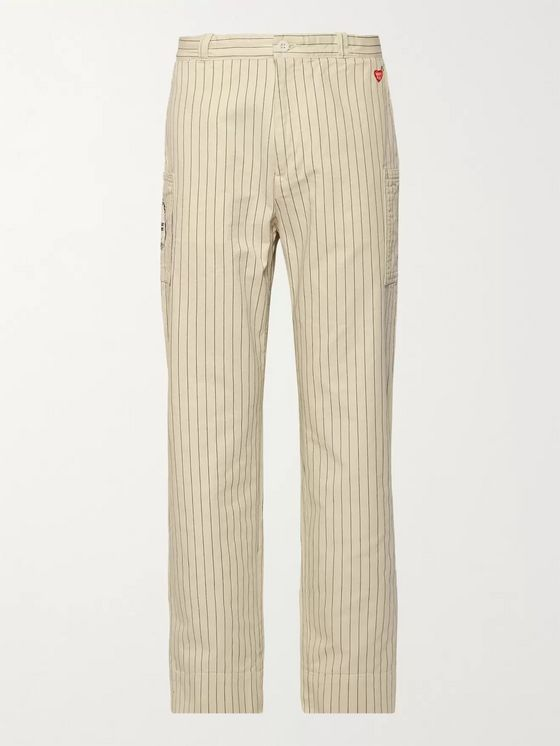 Human Made Logo-Appliquéd Striped Cotton-Twill Cargo Trousers