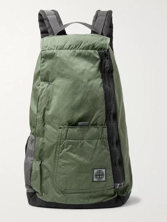 Stone Island Logo-Appliquéd Nylon and Canvas Backpack