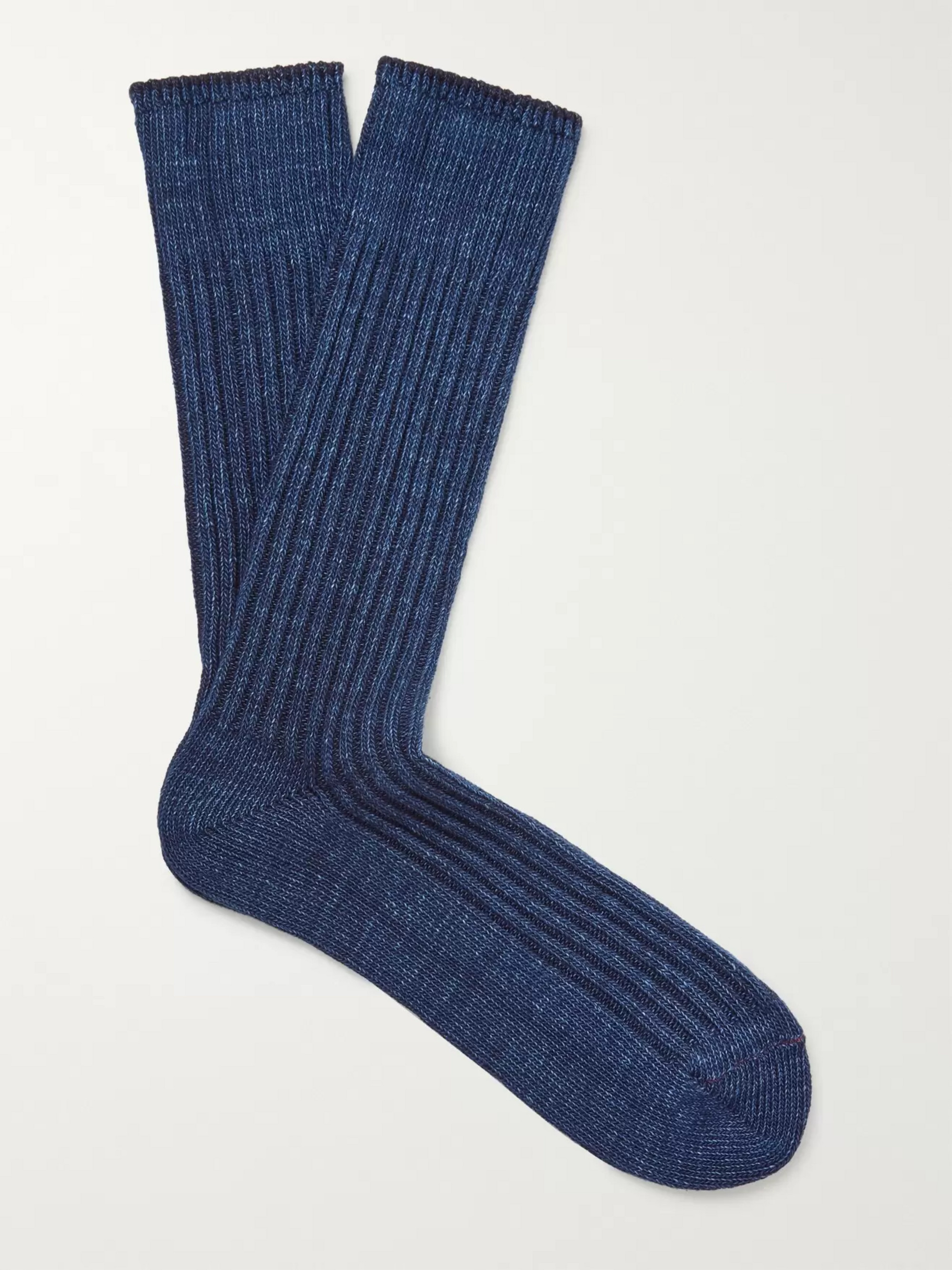 Anonymous Ism Ribbed Mélange Cotton-Blend Socks