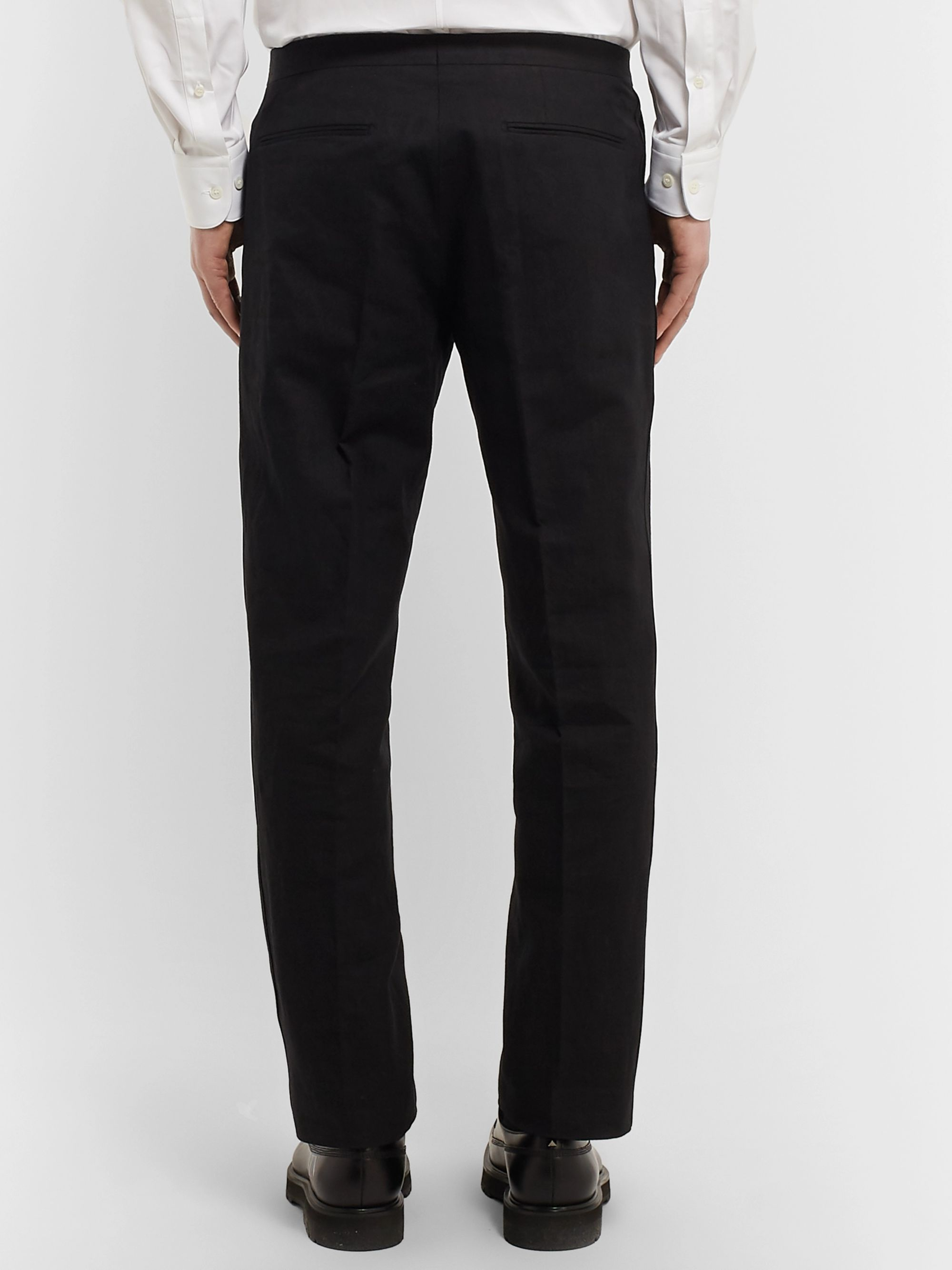 Dries Van Noten Black Slim-Fit Satin-Trimmed Linen and Cotton-Blend Tuxedo