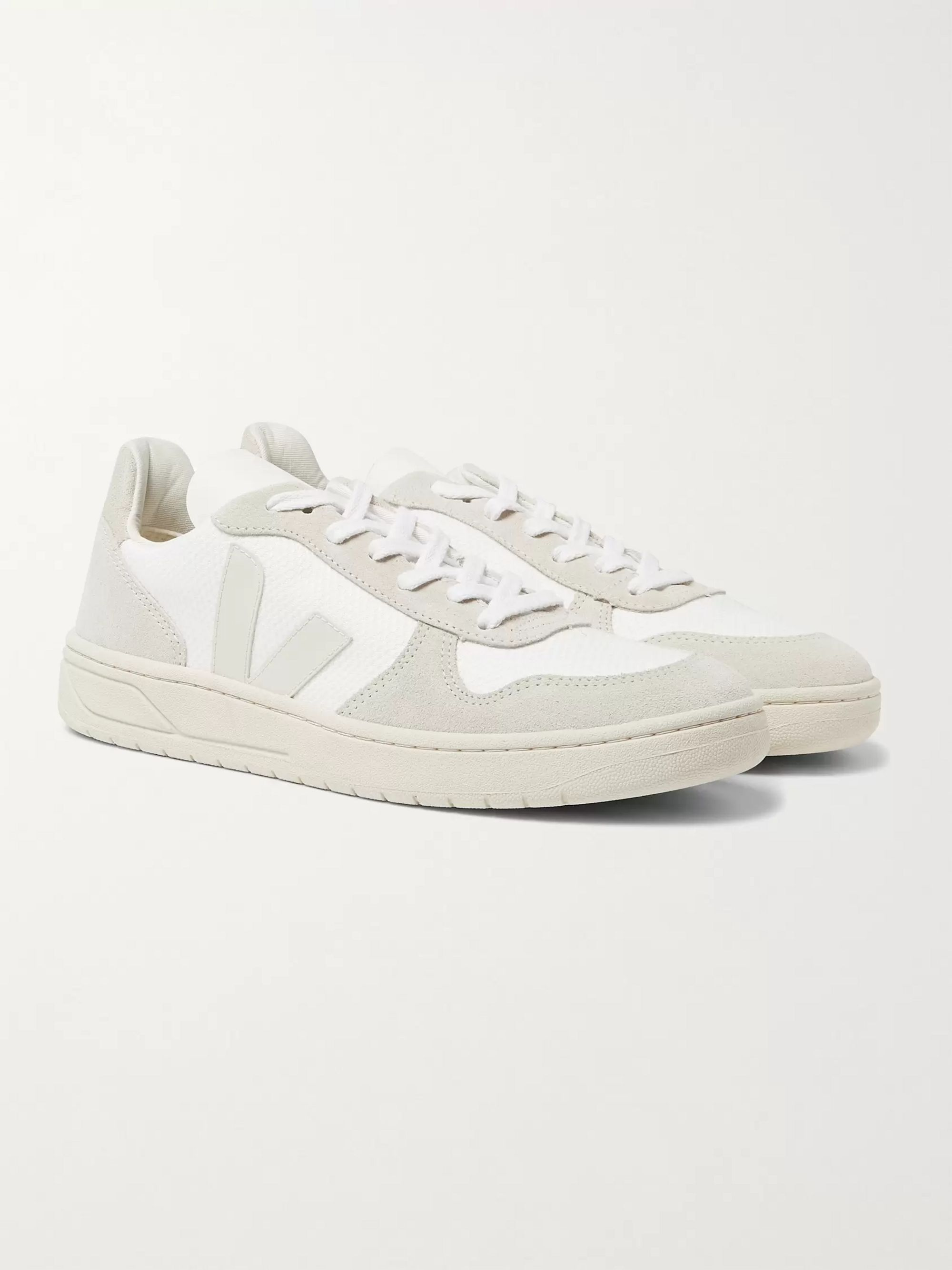 Veja V-10 Rubber-Trimmed Suede and B-Mesh Sneakers