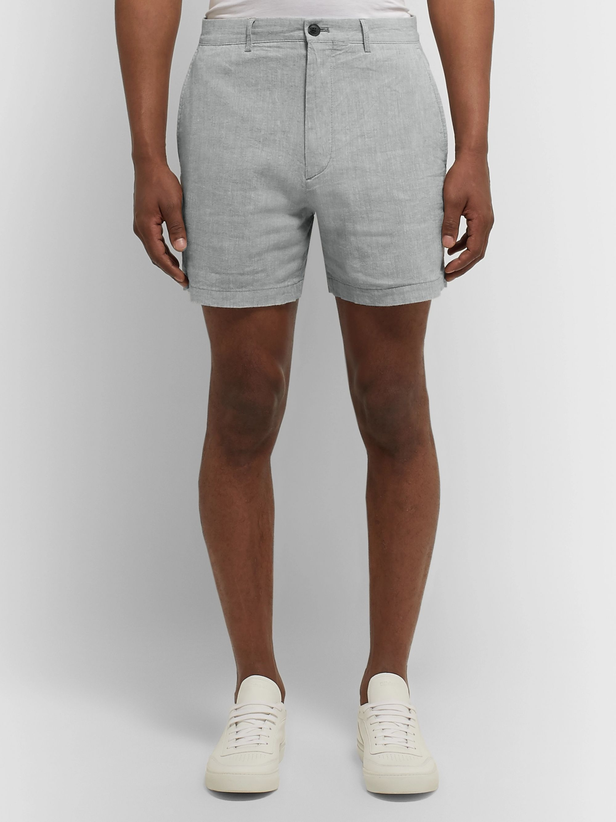 Club Monaco Jax Slim-Fit Linen-Blend Chambray Shorts