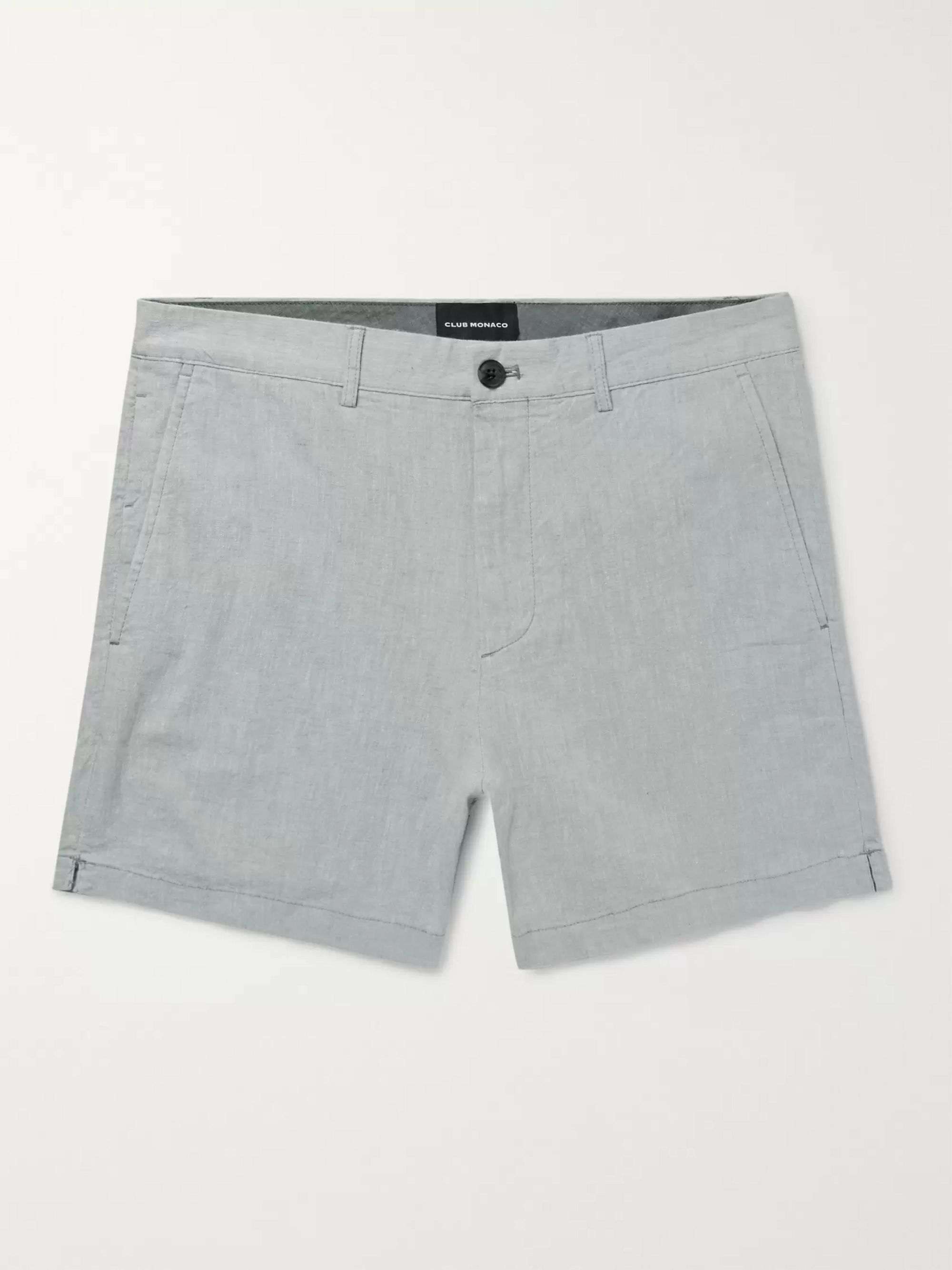 Jax Slim Fit Linen Blend Chambray Shorts by Club Monaco