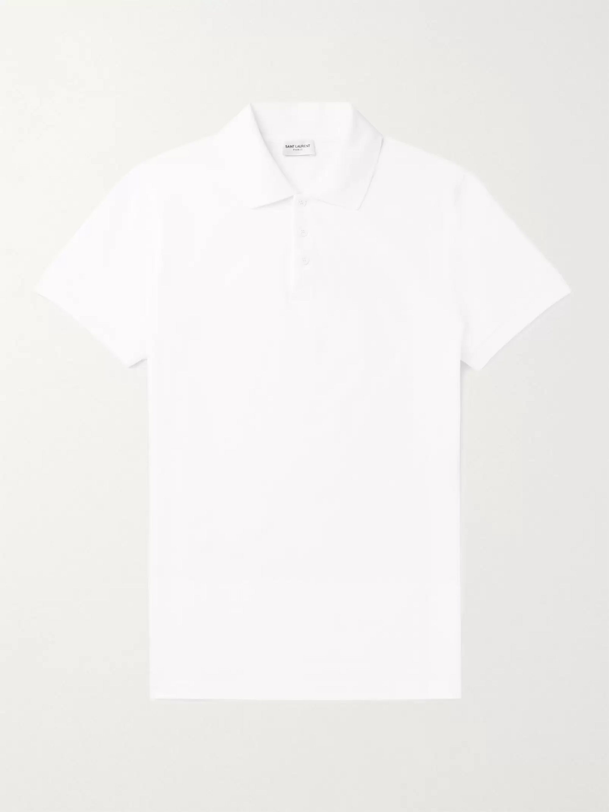 SAINT LAURENT Logo-Embroidered Cotton-Piqué Polo Shirt