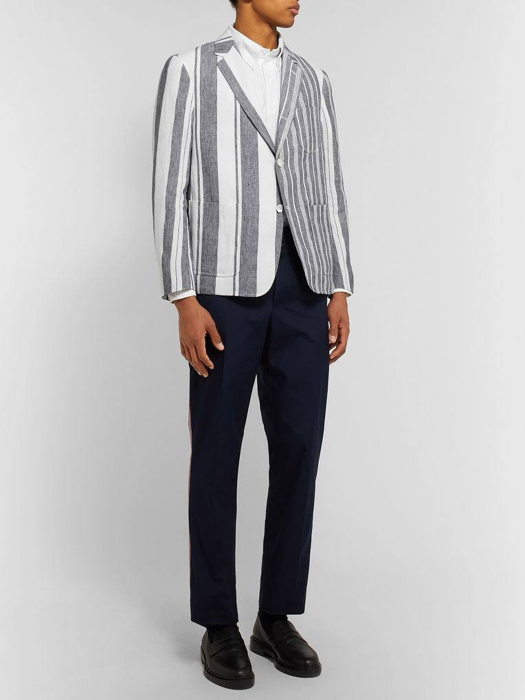 Thom Browne Grey Unstructured Striped Linen Blazer