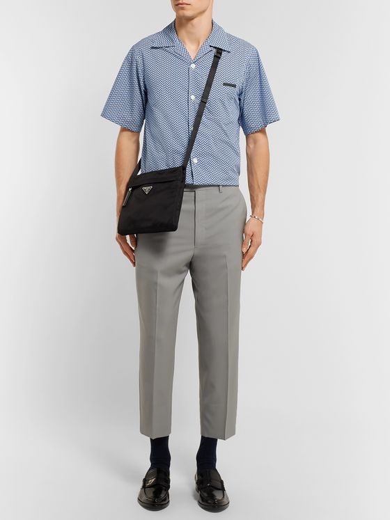 Prada Camp-Collar Printed Cotton-Poplin Shirt