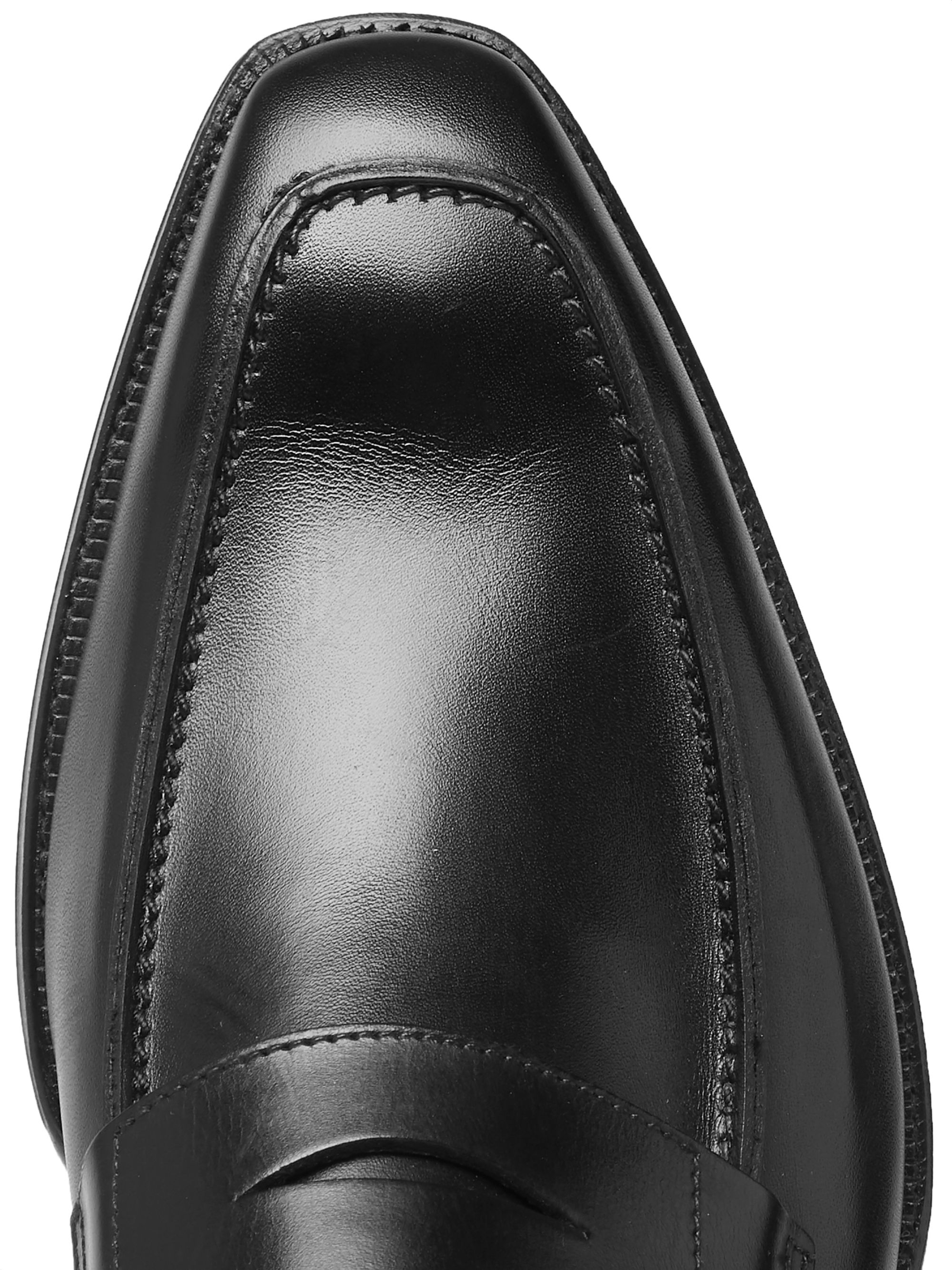 Black George Leather Penny Loafers   Cleverley