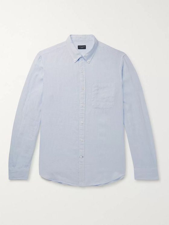 CLUB MONACO Slim-Fit Button-Down Collar Puppytooth Linen Shirt