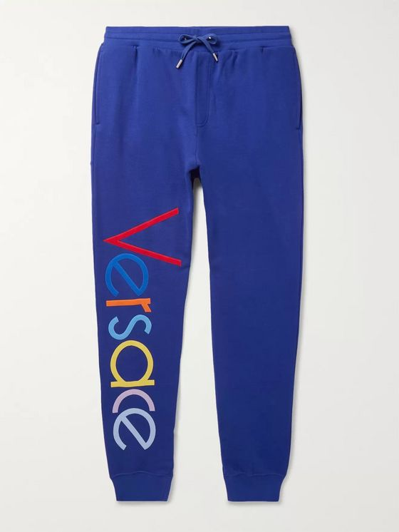Versace Tapered Logo-Embroidered Fleece-Back Cotton-Jersey Sweatpants