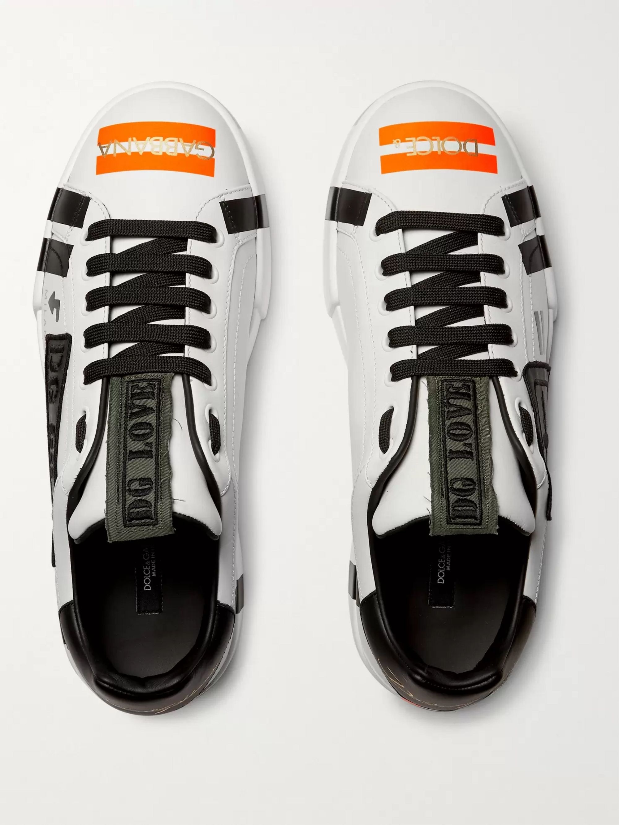 Dolce & Gabbana Appliquéd Printed Leather Sneakers