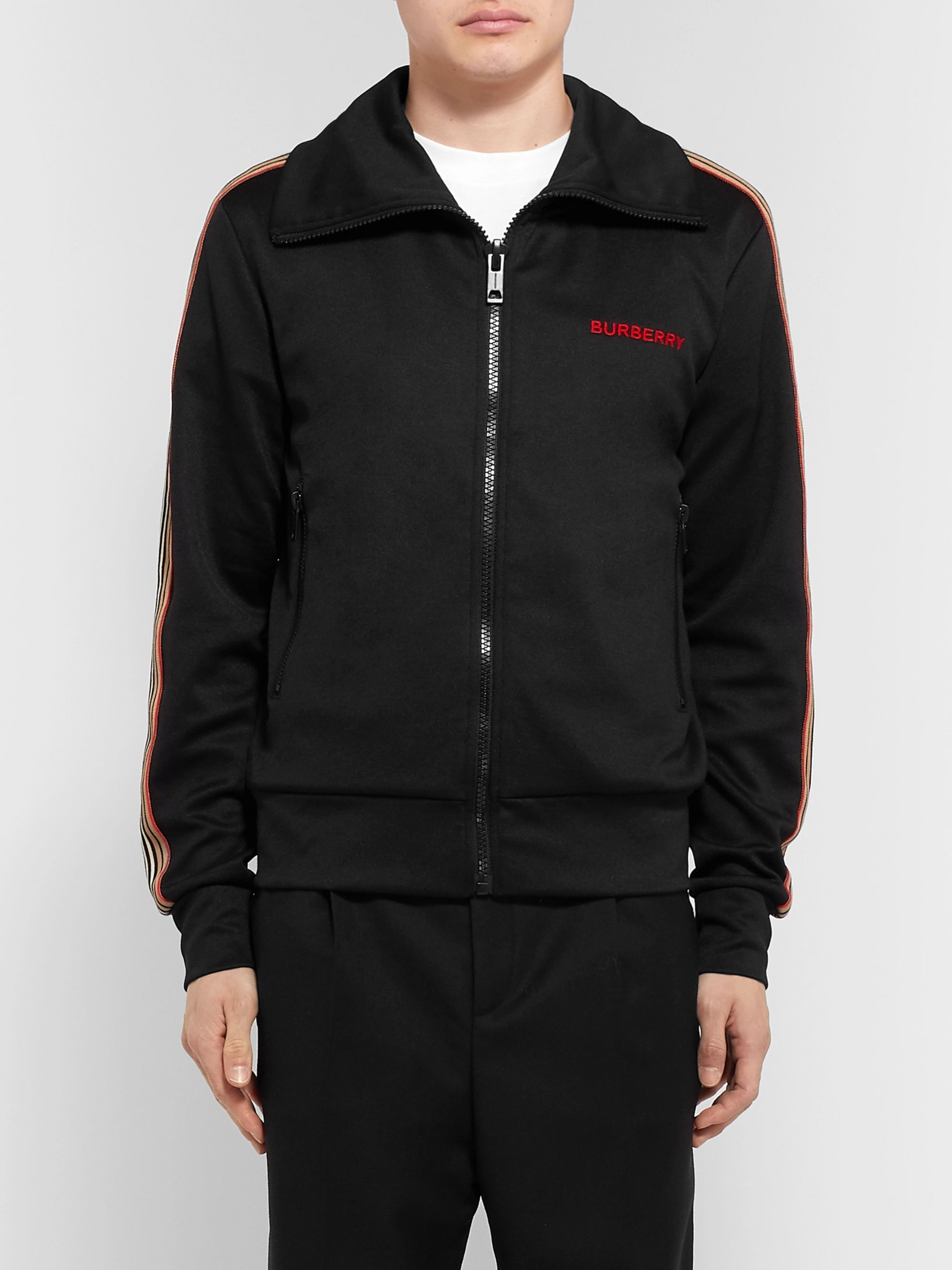 Burberry Webbing-Trimmed Tech-Jersey Track Jacket