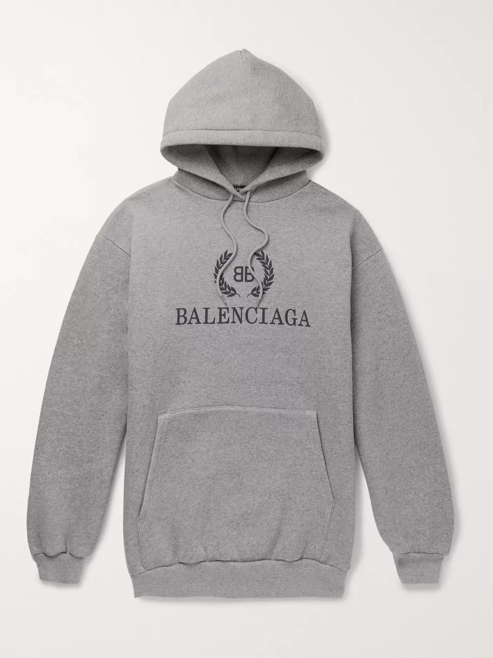 Balenciaga Oversized Logo-Print Fleece-Back Cotton-Blend Jersey Hoodie