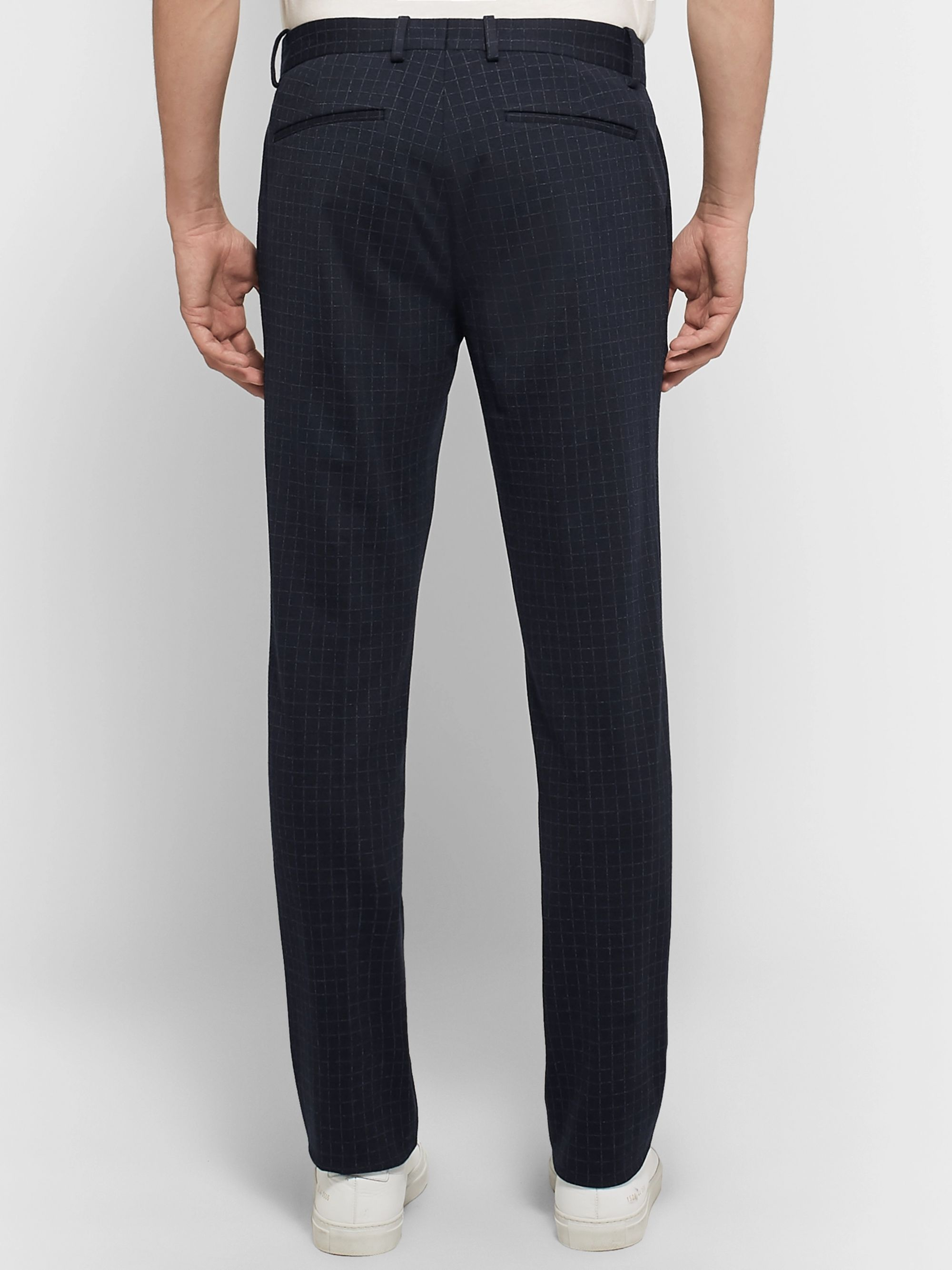Theory Navy Payton Slim-Fit Checked Stretch-Ponte Trousers