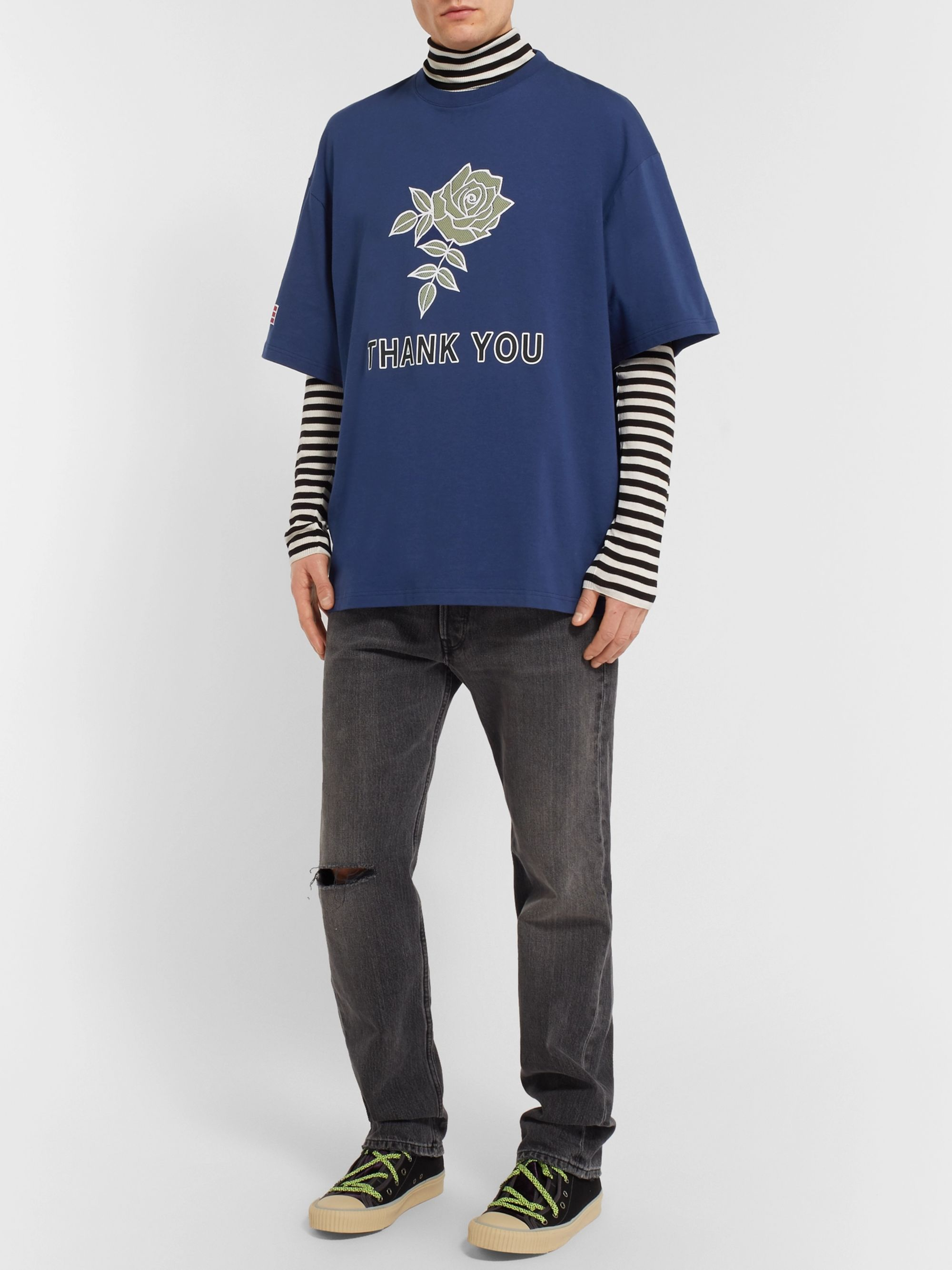 Lanvin Oversized Flocked and Printed Cotton-Jersey T-Shirt