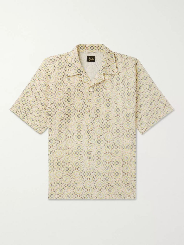 Needles Camp-Collar Embroidered Voile Shirt