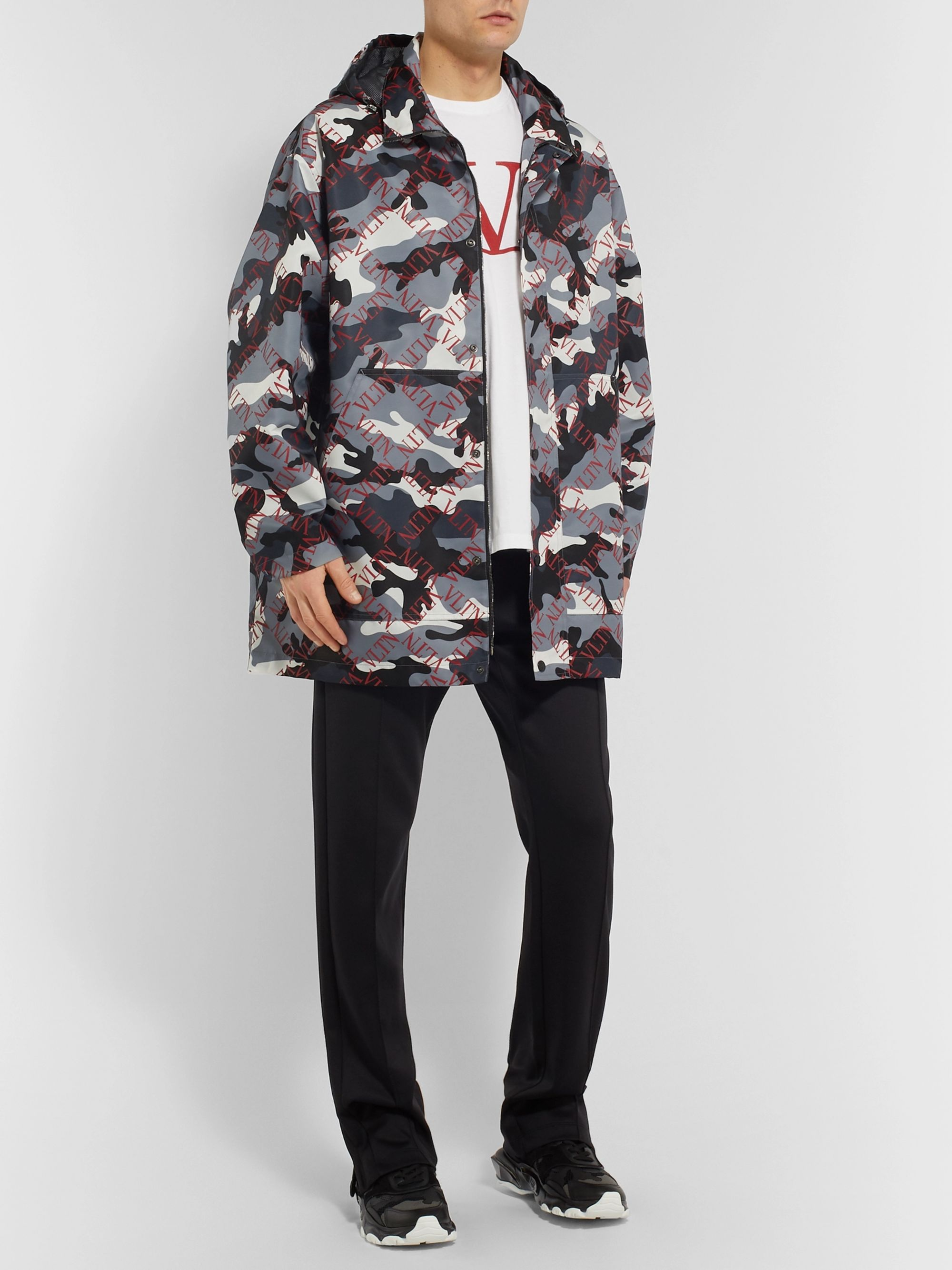 Valentino Logo and Camouflage-Print Shell Hooded Coat