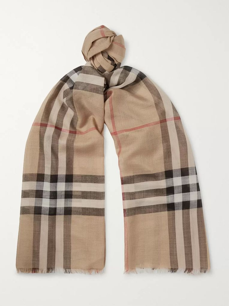 Burberry Fringed Checked Wool and Silk-Blend Scarf
