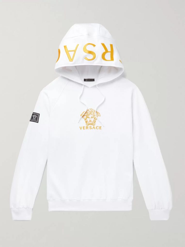 Versace Oversized Logo-Embroidered Loopback Cotton-Jersey Hoodie