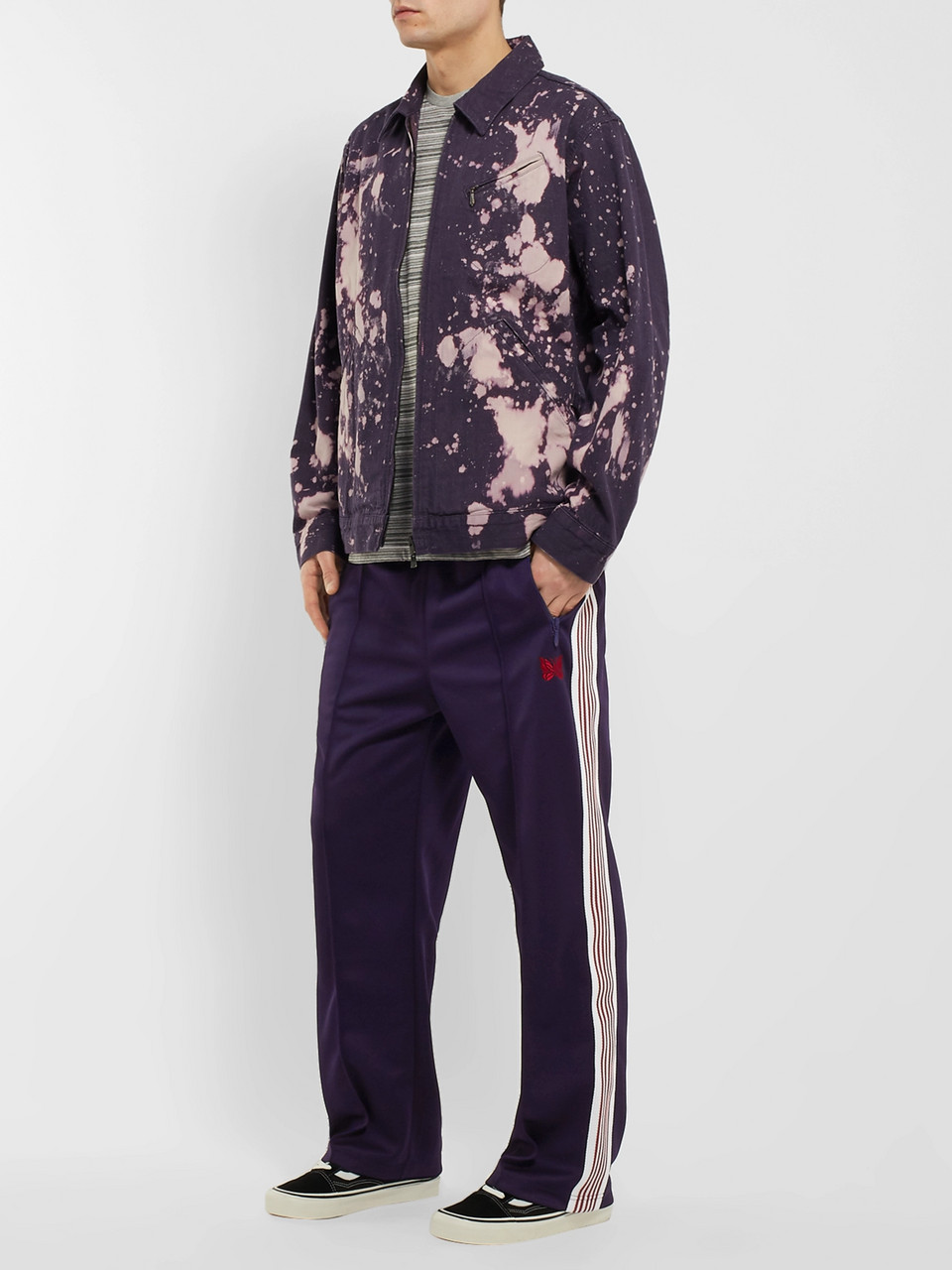 6d7c8082 Purple Embroidered Striped Satin-Jersey Track Pants | Needles | MR ...