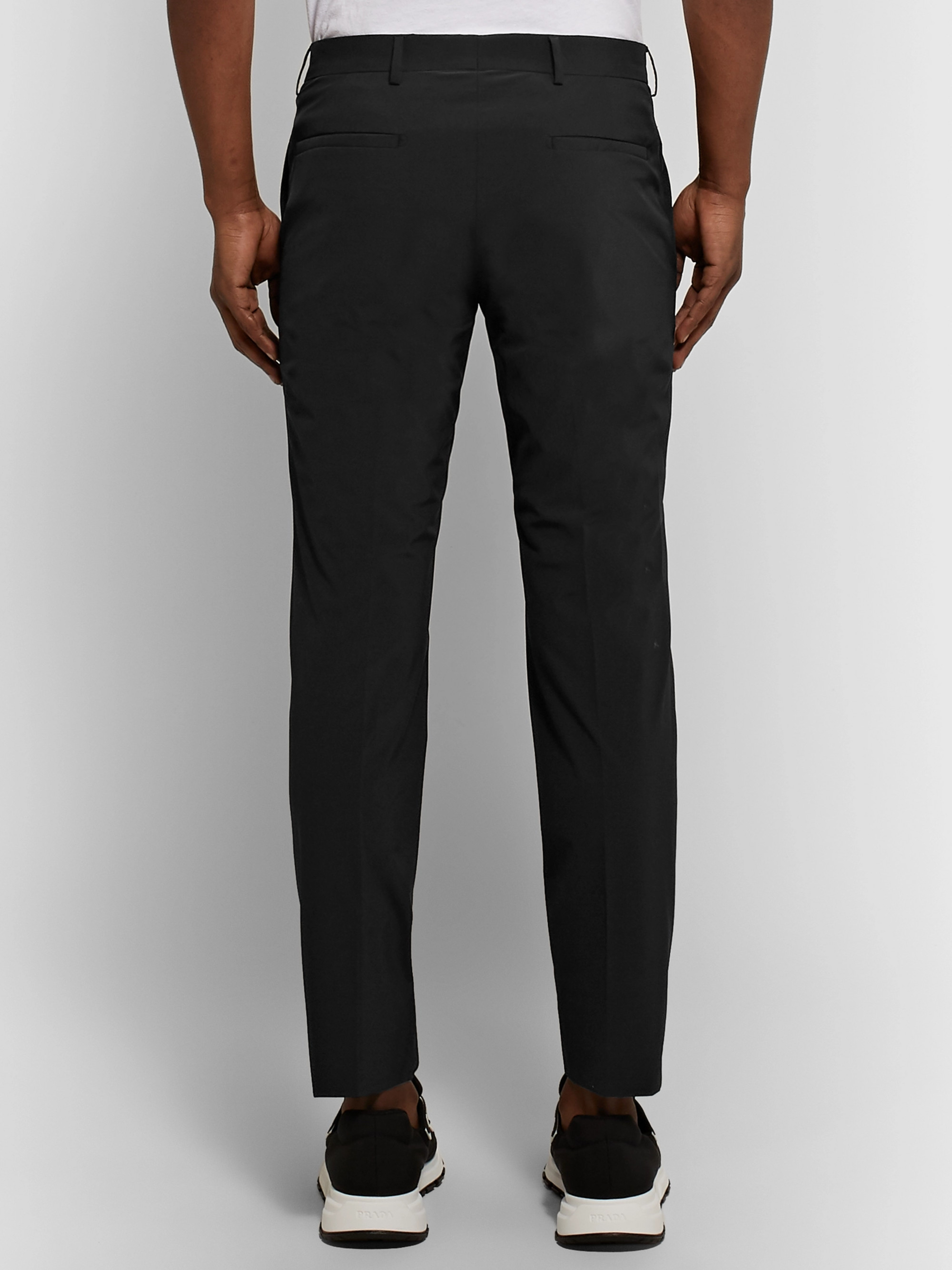 778350570a28 Black Black Slim-Fit Stretch-Shell Trousers | Prada | MR PORTER