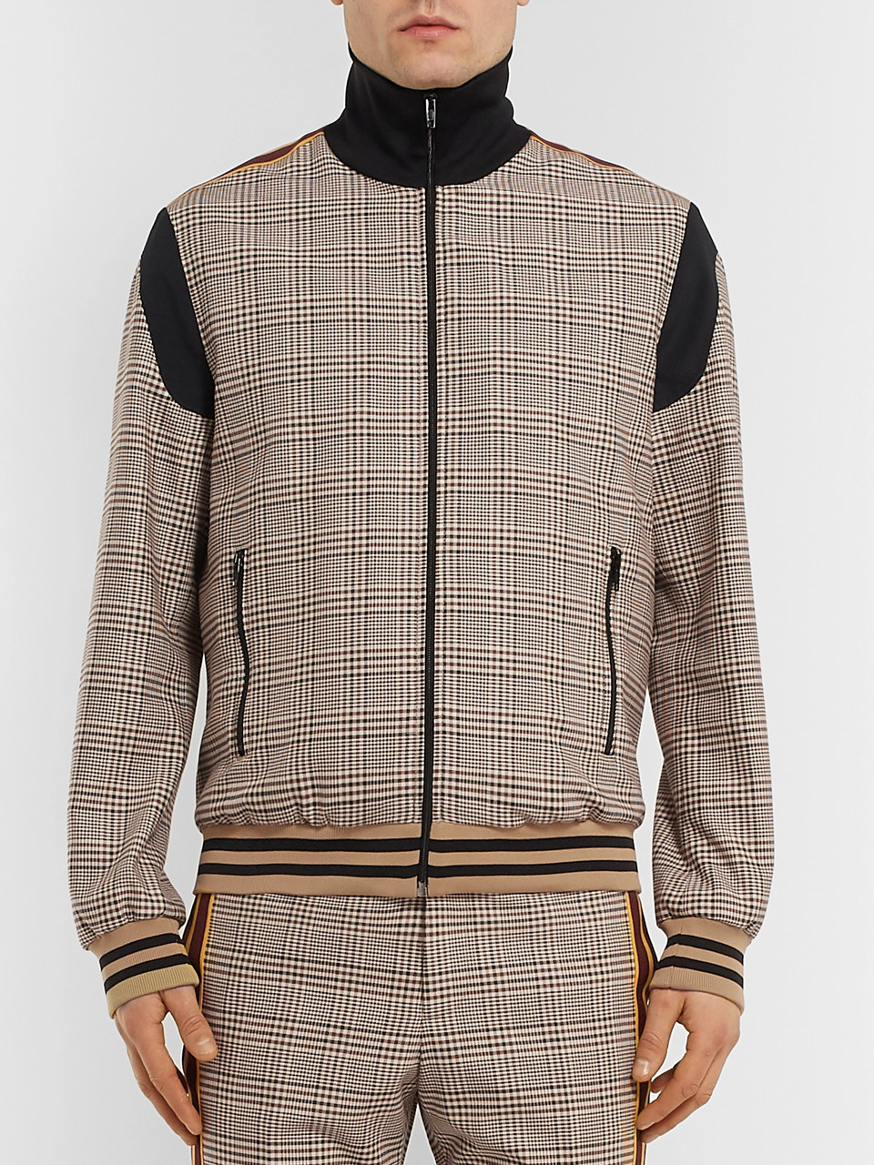 b2378677f Prince of Wales Checked Wool and Cotton-Blend Bomber Jacket